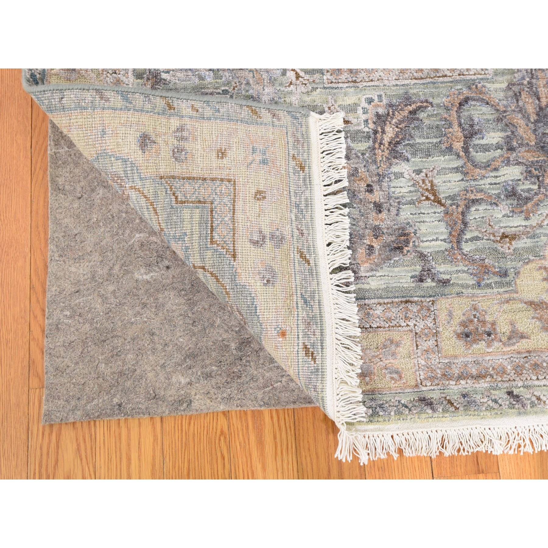 """7'10""""x10'2"""" Light Green Pure Silk With Textured Wool Mughal Design Hand Knotted Oriental Rug"""