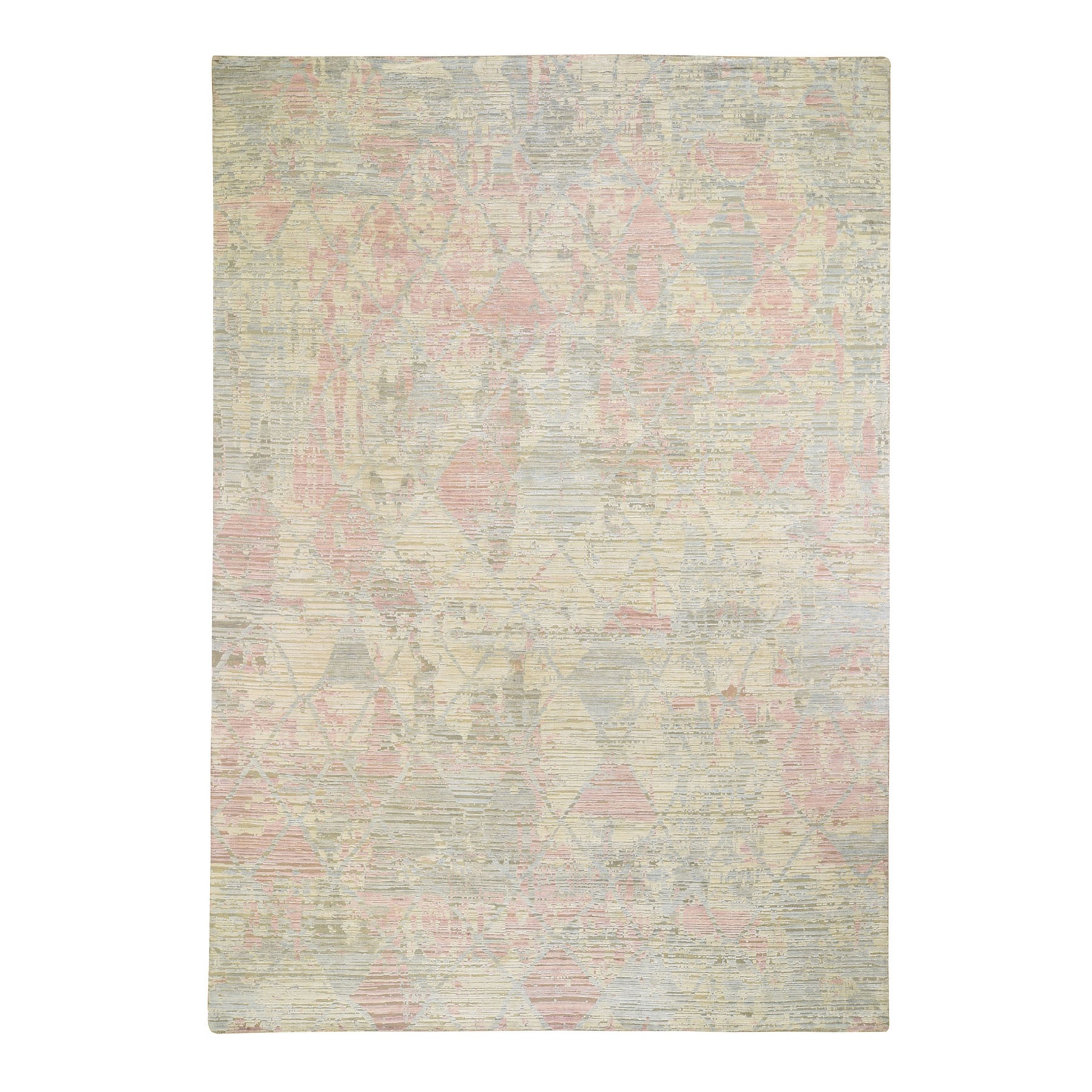 """10'X14'2"""" The Pastel Collection, Silk With Textured Wool Hand Knotted Oriental Rug moad8eda"""