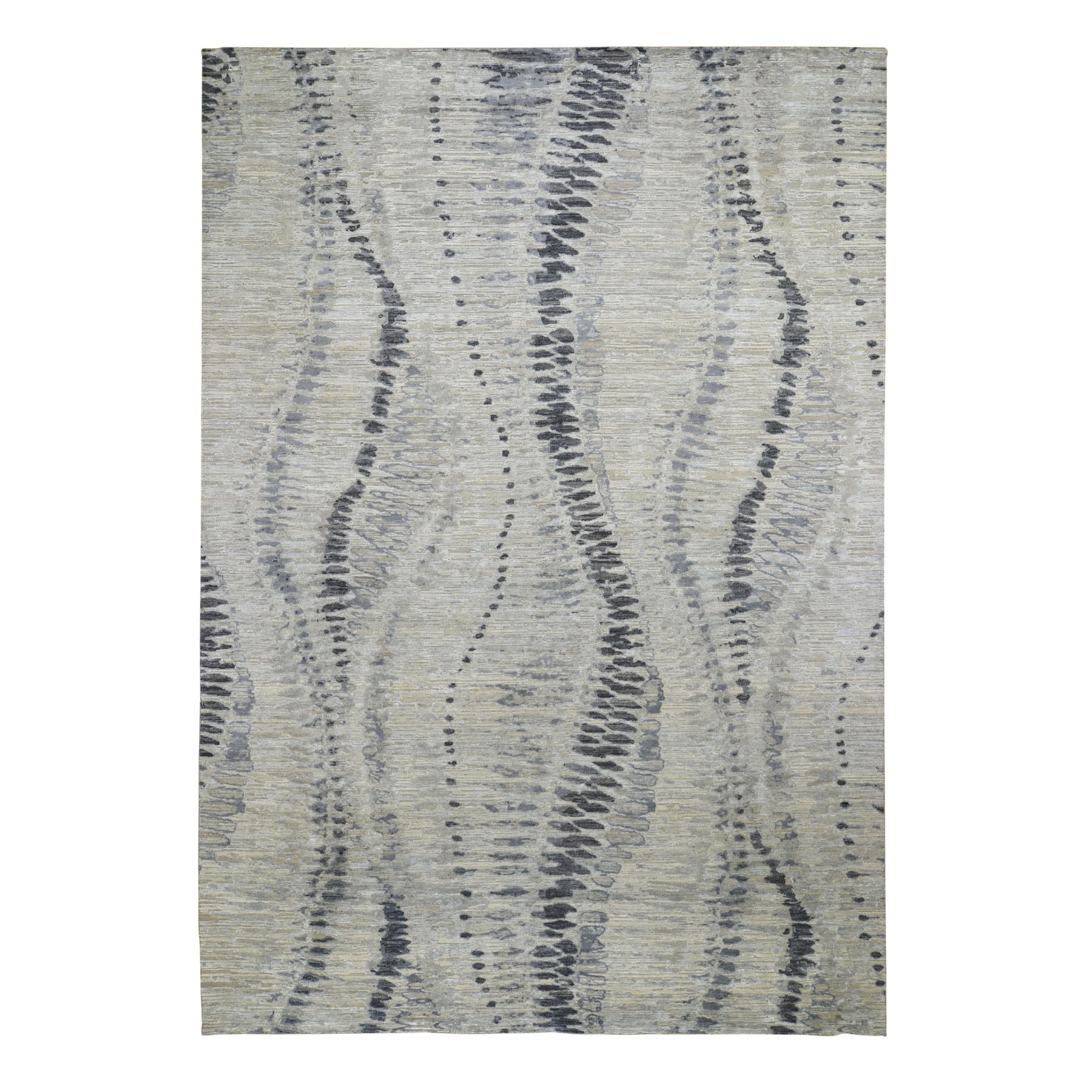 """10'X14'4"""" The Silver Crocodile, Silk With Textured Wool Hand Knotted Oriental Rug moad8edb"""
