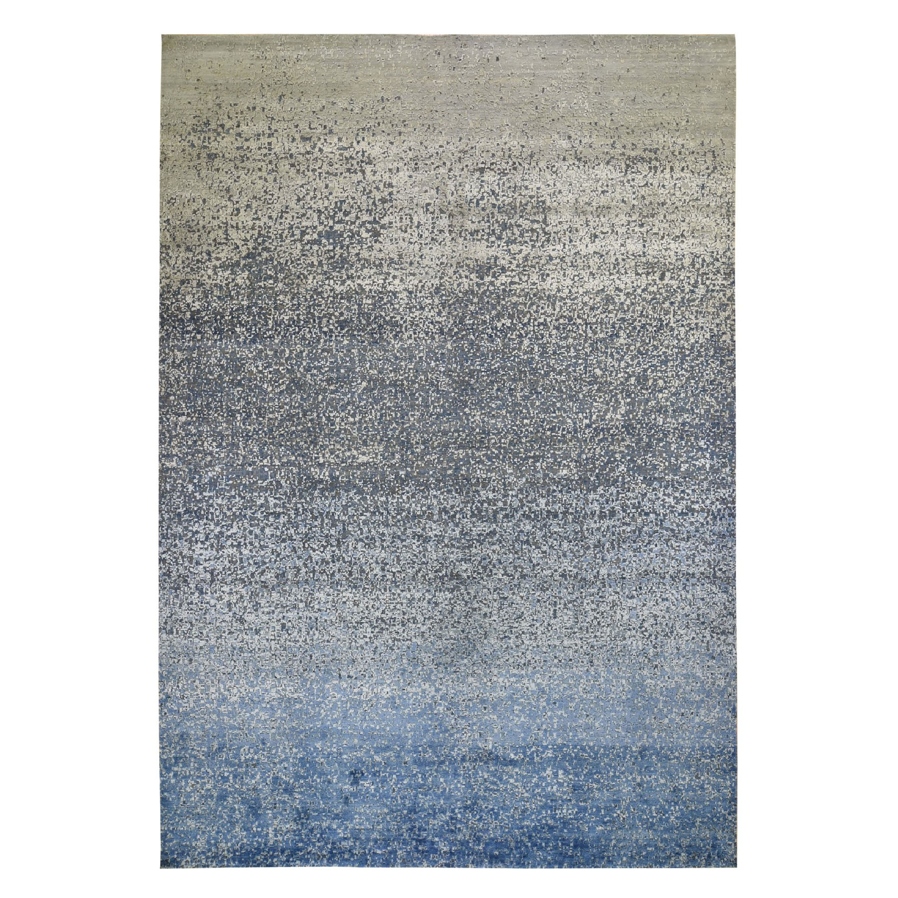 10'X14' Pure Silk With Textured Wool Dissipating Design Hand Knotted Oriental Rug moad8ede