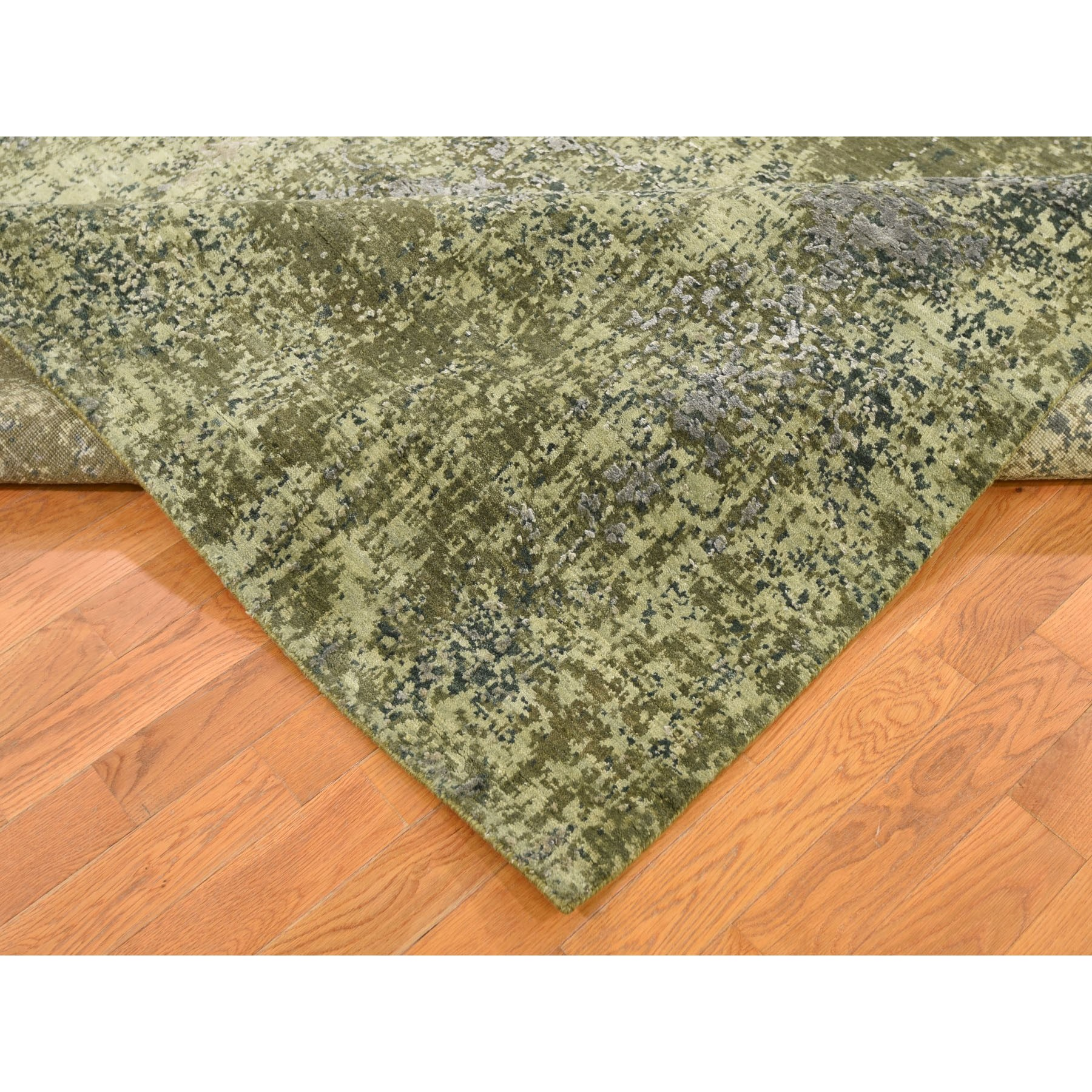 9-1 x12- The Greens, Pure Silk With Textured Wool Hand Knotted Oriental Rug