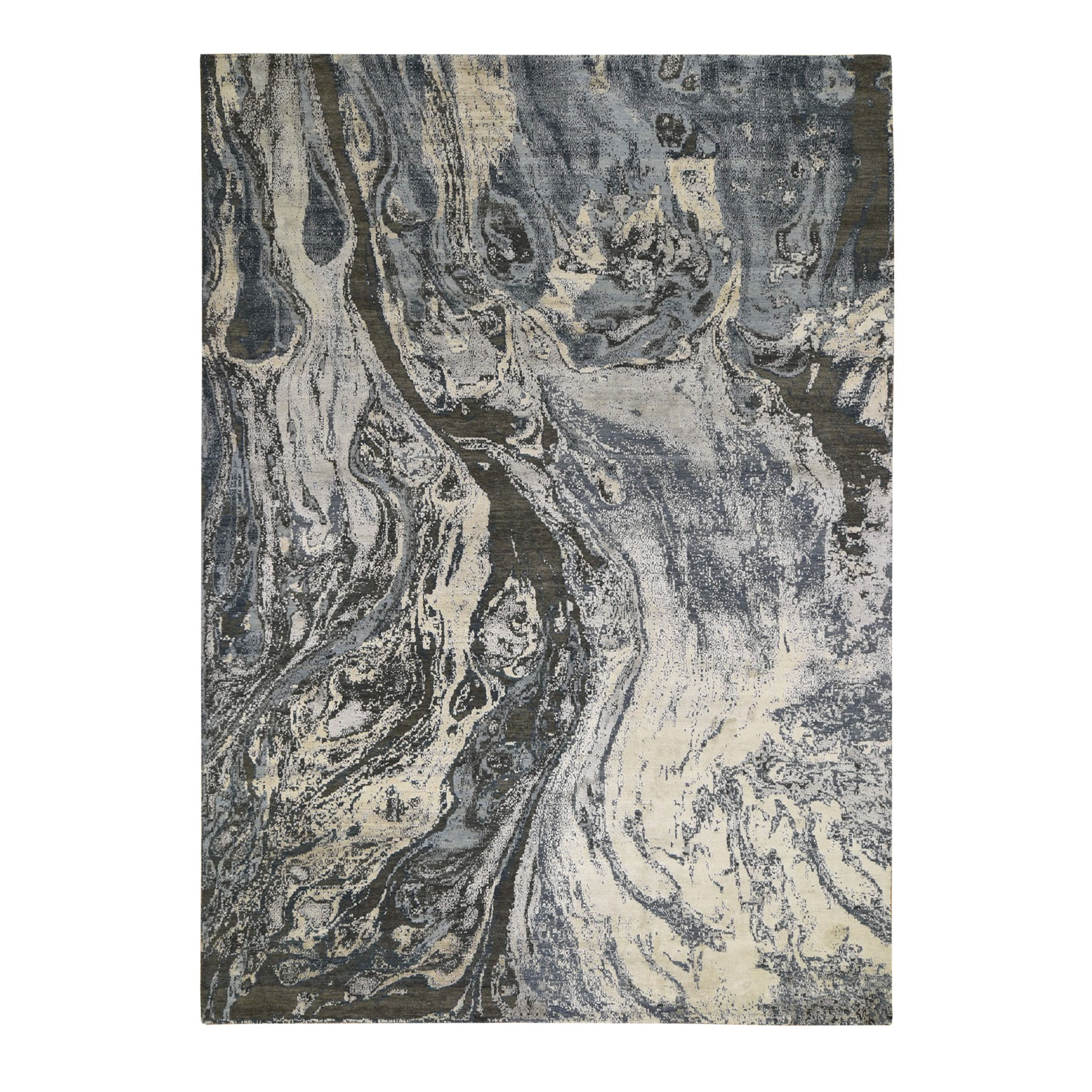 """9'X12'1"""" Blue Geological  Design Wool And Pure Silk Hand Knotted Oriental Rug moad8ed7"""