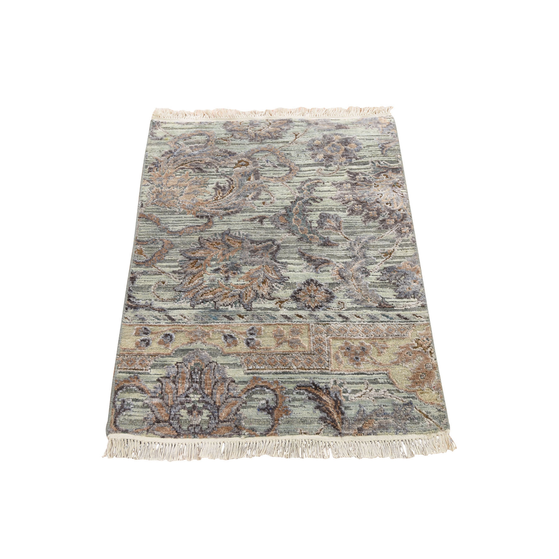 2'X3' Light Green Pure Silk With Textured Wool Mughal Design Hand Knotted Oriental Rug moad8eea