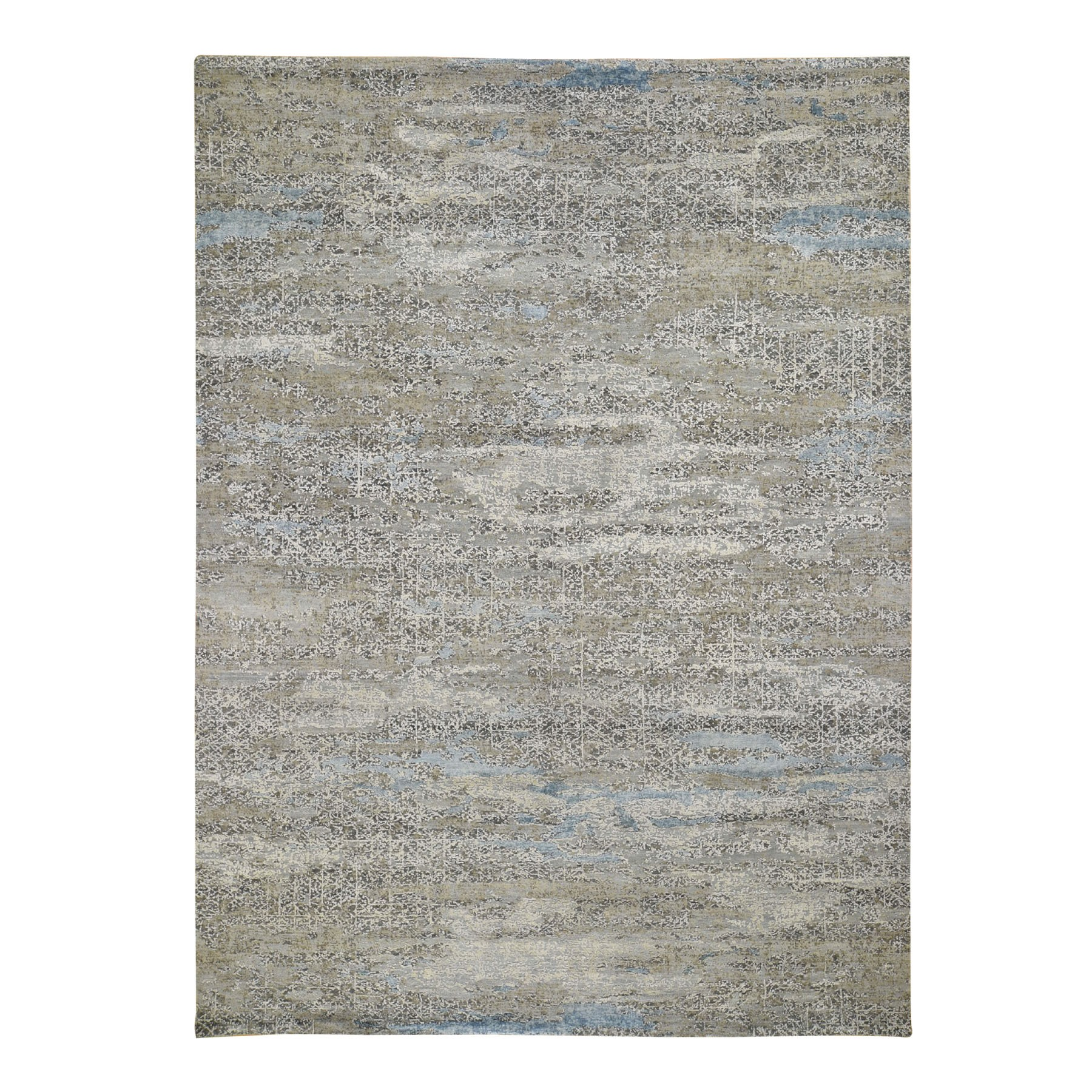 "9'X12'3"" Wool With Pure Silk Abstract Design Soft Color Hand Knotted Oriental Rug moad8eec"