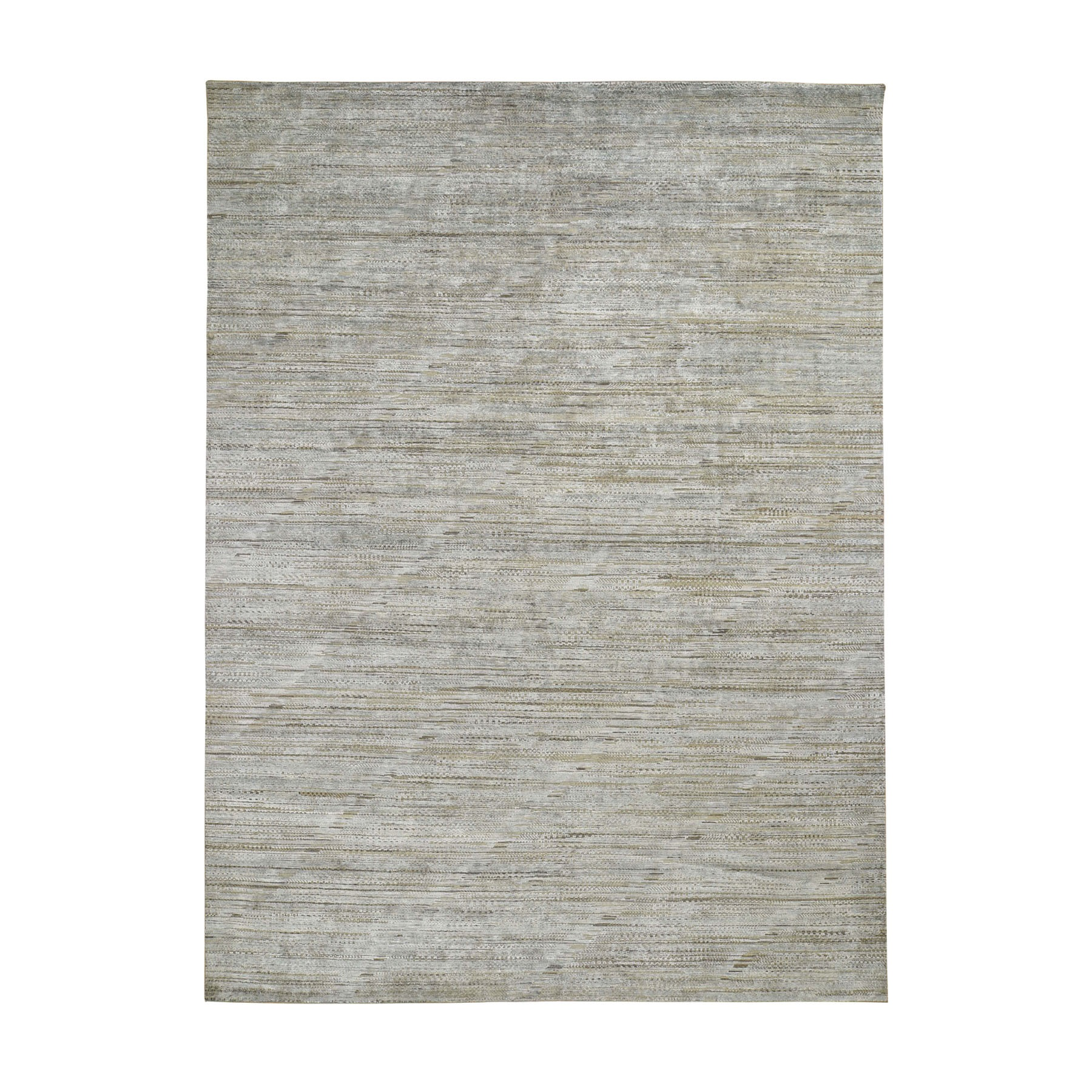 """9'X12'2"""" Pure Silk With Textured Wool Grass Design Hand Knotted Oriental Rug moad8eed"""