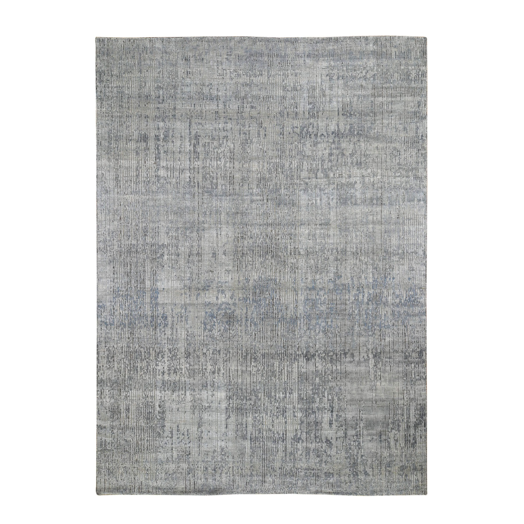 """8'10""""X11'5""""  The Dripping, Pure Silk With Textured Wool Hand Knotted Oriental Rug moad8ee6"""