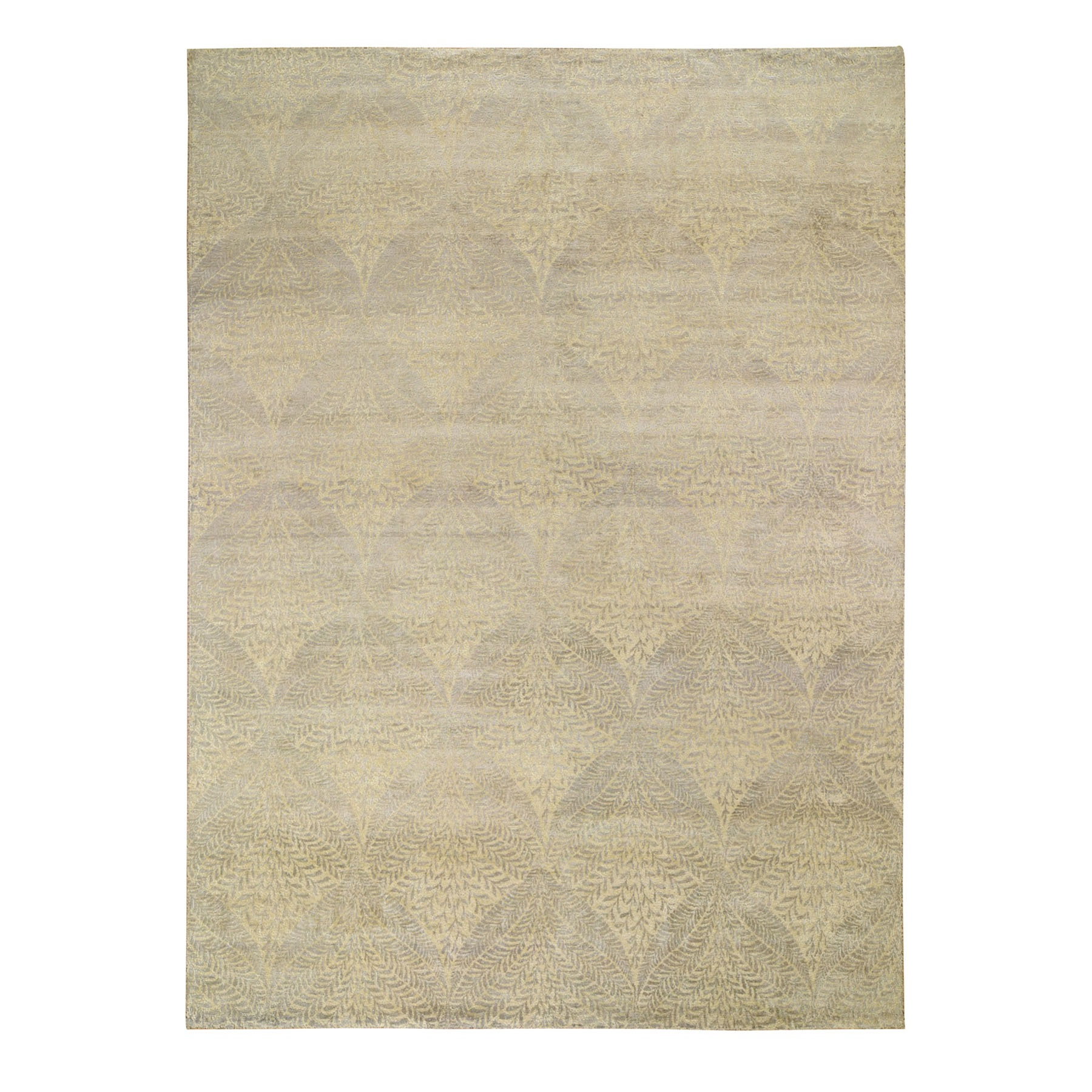 "8'10""X12'21"" Gold Leaf Design Tone On Tone Pure Silk Hand Knotted Oriental Rug moad8ee8"