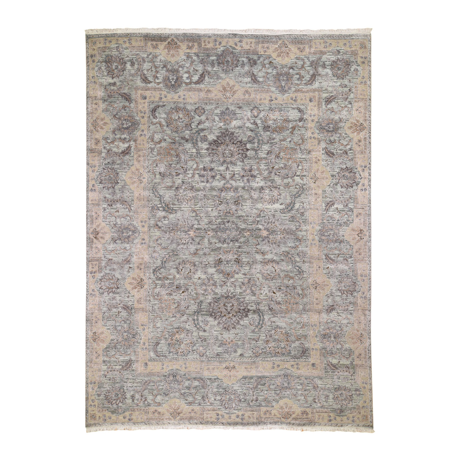 """9'X12'2"""" Light Green Pure Silk With Textured Wool Mughal Design Hand Knotted Oriental Rug moad8e6b"""