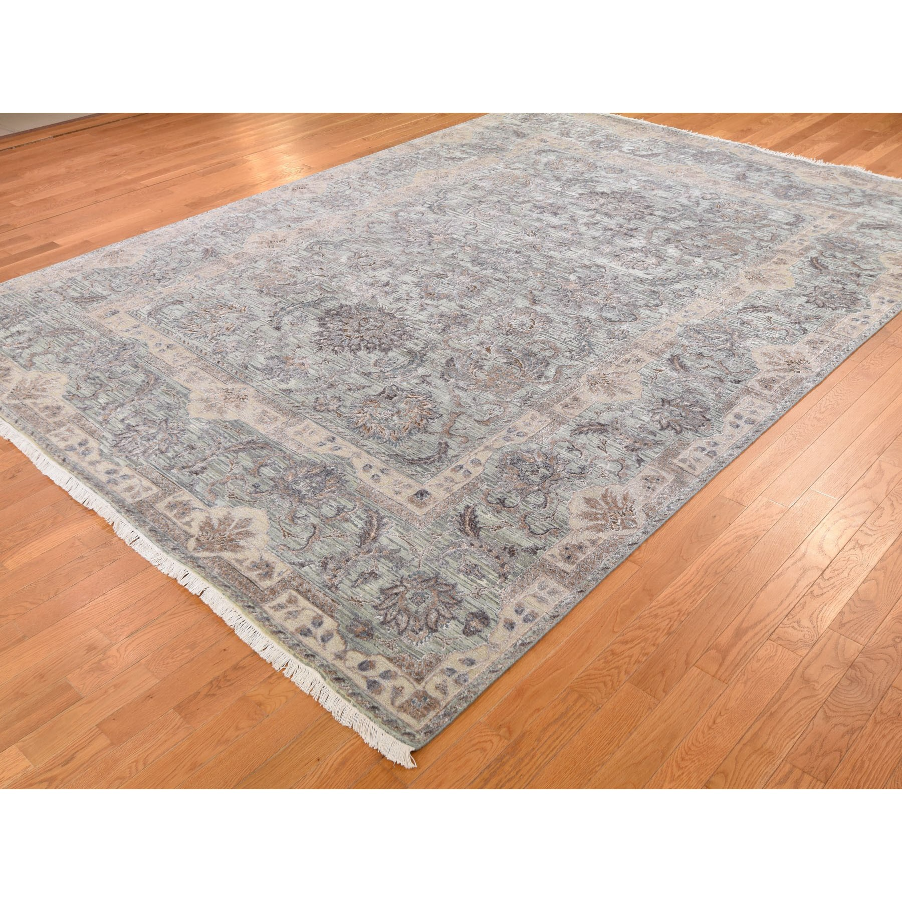 """9'x12'2"""" Light Green Pure Silk With Textured Wool Mughal Design Hand Knotted Oriental Rug"""