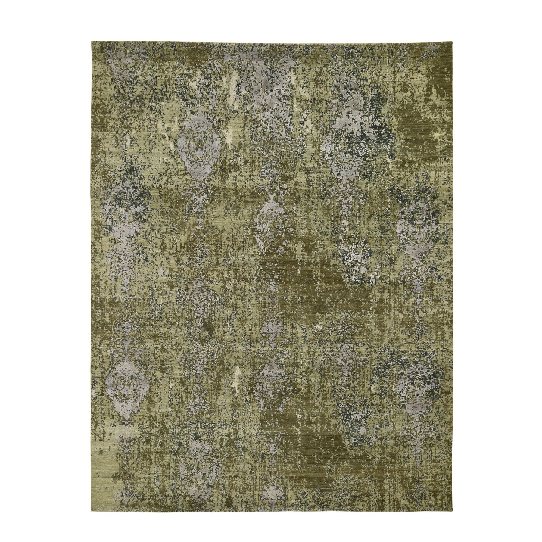 "8'X10'5"" The Greens, Pure Silk With Textured Wool Hand Knotted Oriental Rug moad8e6d"