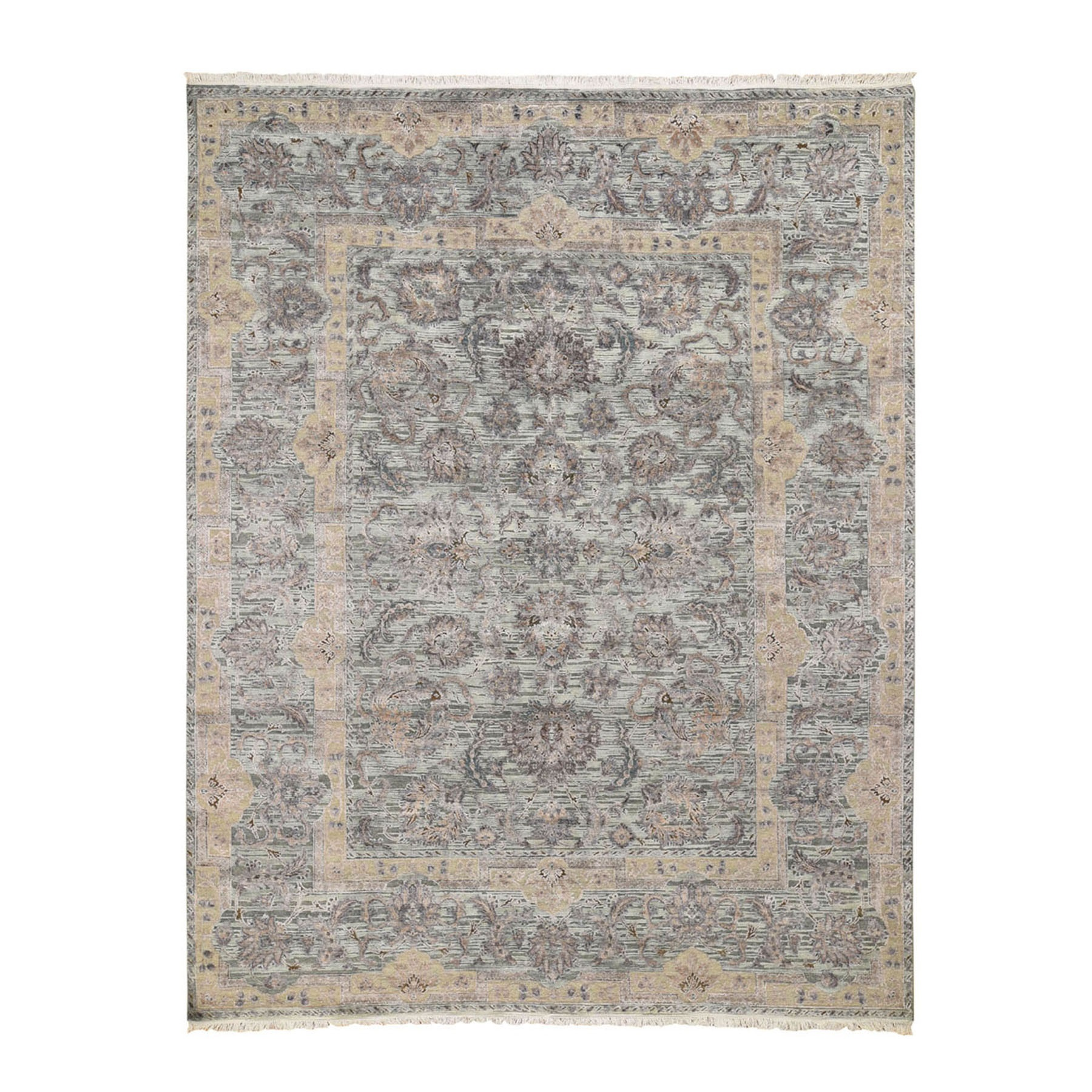 "7'10""x10'2"" Light Green Pure Silk With Textured Wool Mughal Design Hand Knotted Oriental Rug"