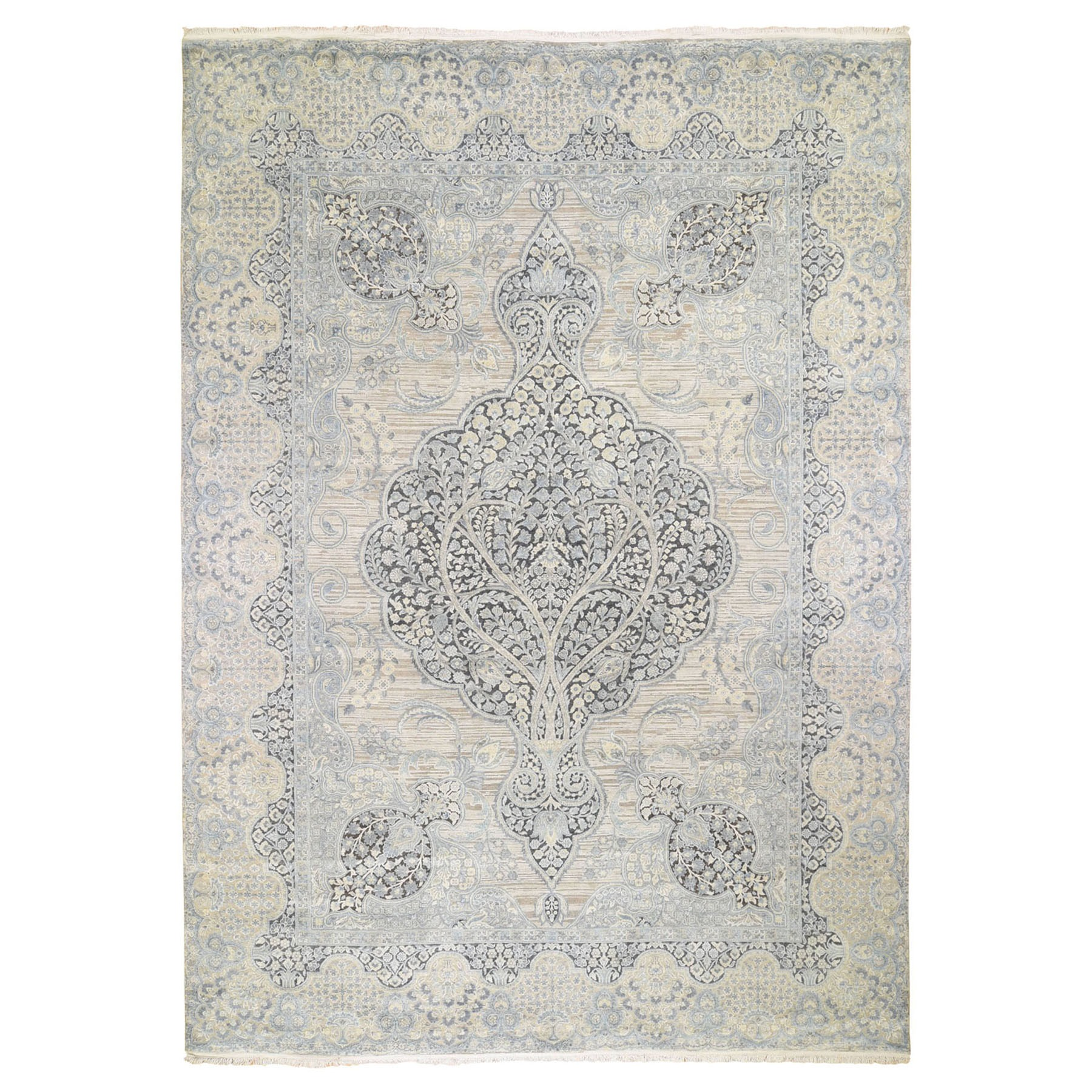 "9'9""X13'9"" Tree Of Life Meditation Design Silk With Textured Wool Hand Knotted Oriental Rug moad8e70"