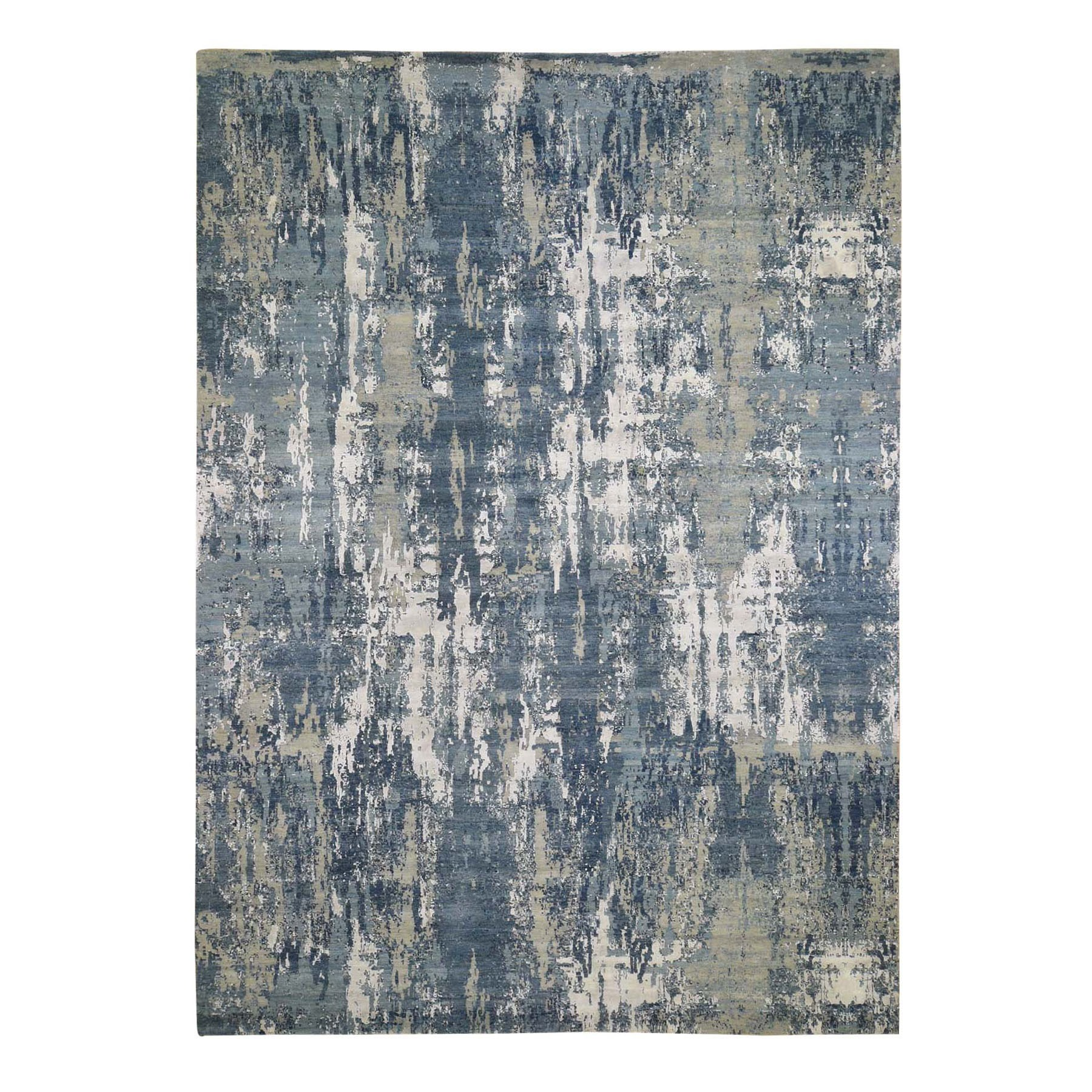 """10'X14'5"""" Blue Abstract Design Wool And Pure Silk Hand Knotted Oriental Rug moad8e7a"""