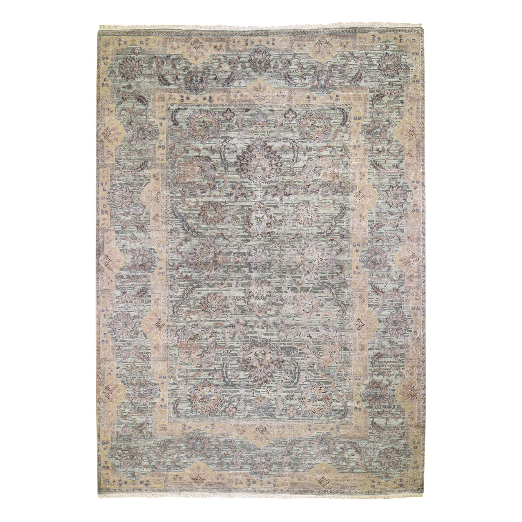 10'X14' Light Green Pure Silk With Textured Wool Mughal Design Hand Knotted Oriental Rug moad8e7c