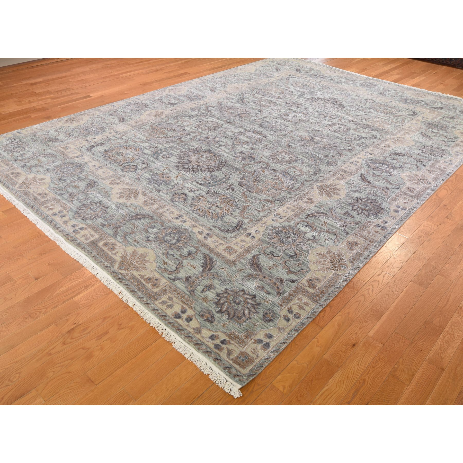 10'x14' Light Green Pure Silk With Textured Wool Mughal Design Hand Knotted Oriental Rug