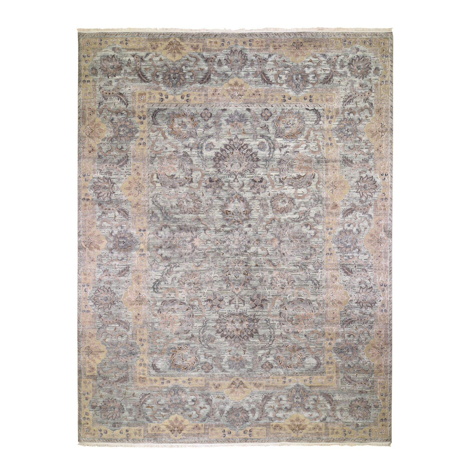 "11'8""X15'3"" Oversized Light Green Pure Silk With Textured Wool Mughal Design Hand Knotted Oriental Rug moad8e7d"