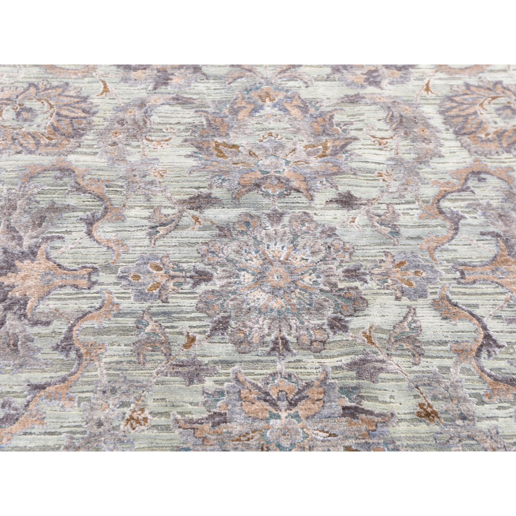 11-8 x15-3  Oversized Light Green Pure Silk With Textured Wool Mughal Design Hand Knotted Oriental Rug