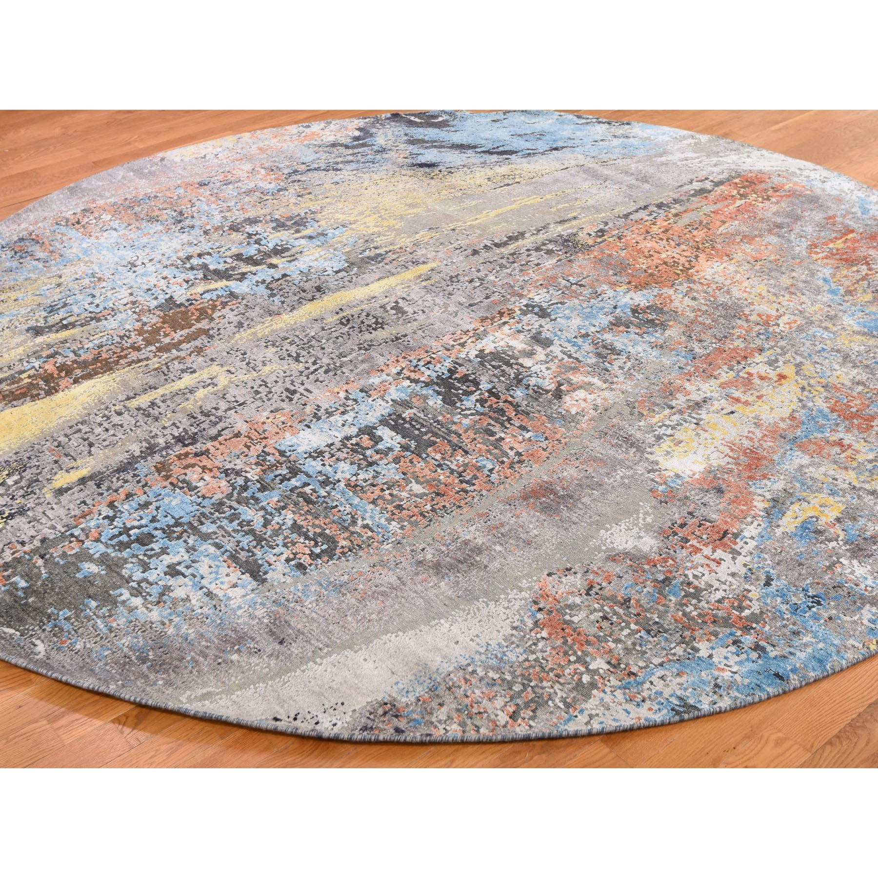 """10'1""""x10'1"""" Round Wool And Silk Hi-Low Pile Abstract Design Hand Knotted Rug"""