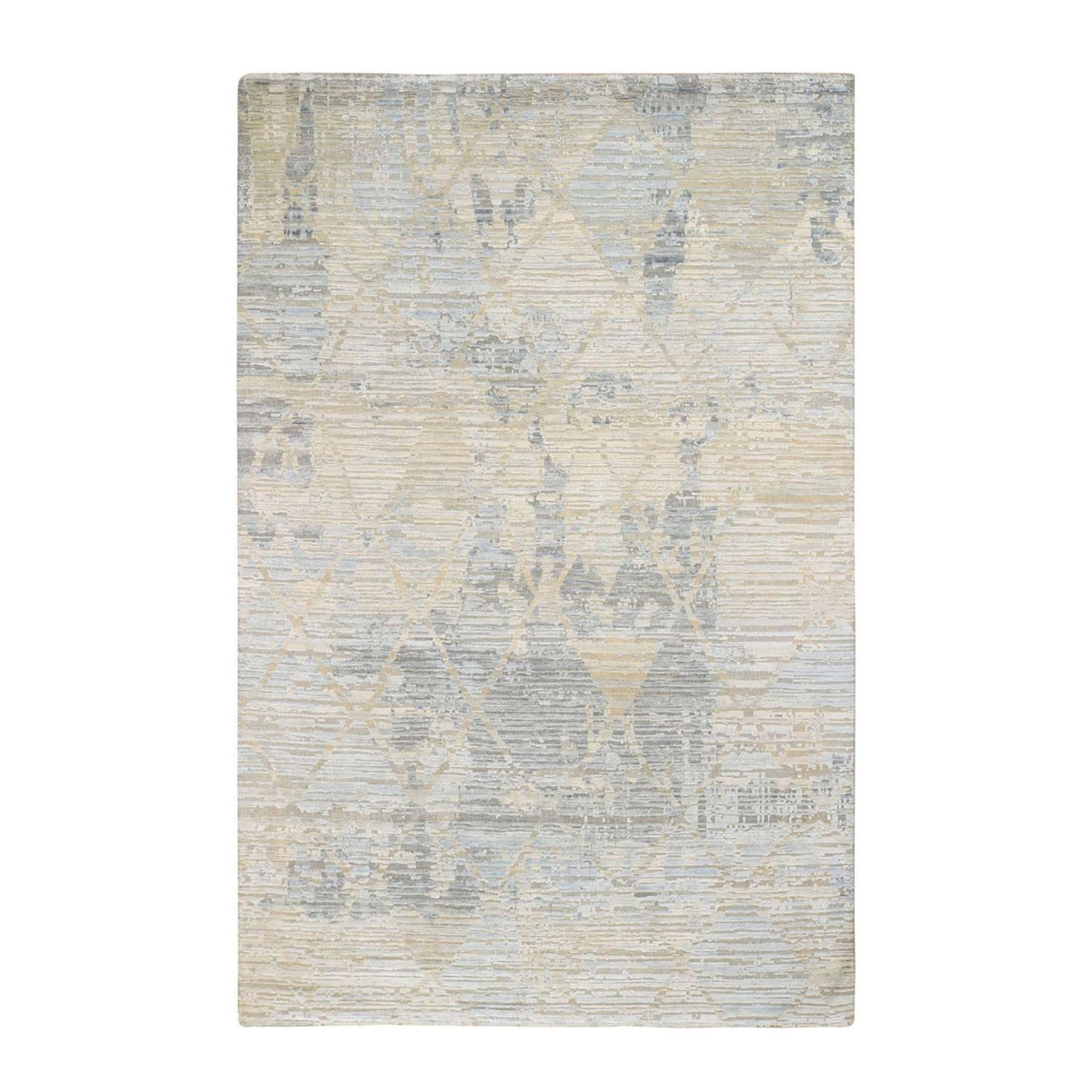 "6'X9'2"" The Pastel Collection, Silk With Textured Wool Hand Knotted Oriental Rug moad8e76"