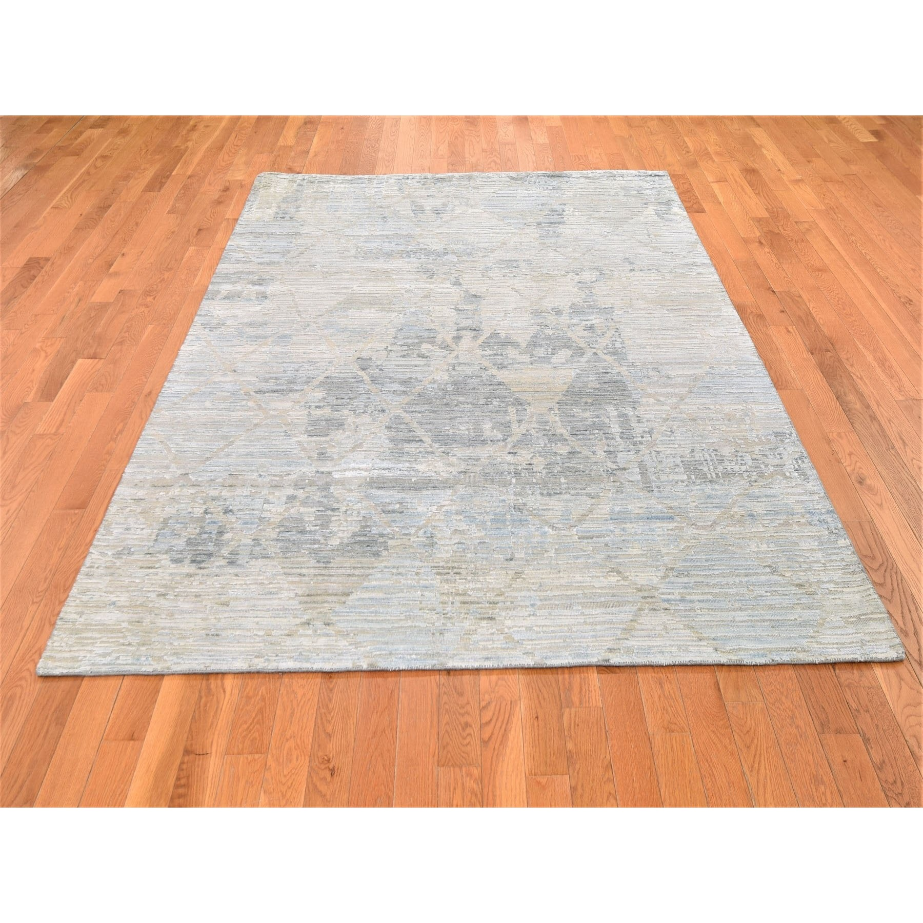 "6'x9'2"" THE PASTEL COLLECTION, Silk With Textured Wool Hand Knotted Oriental Rug"