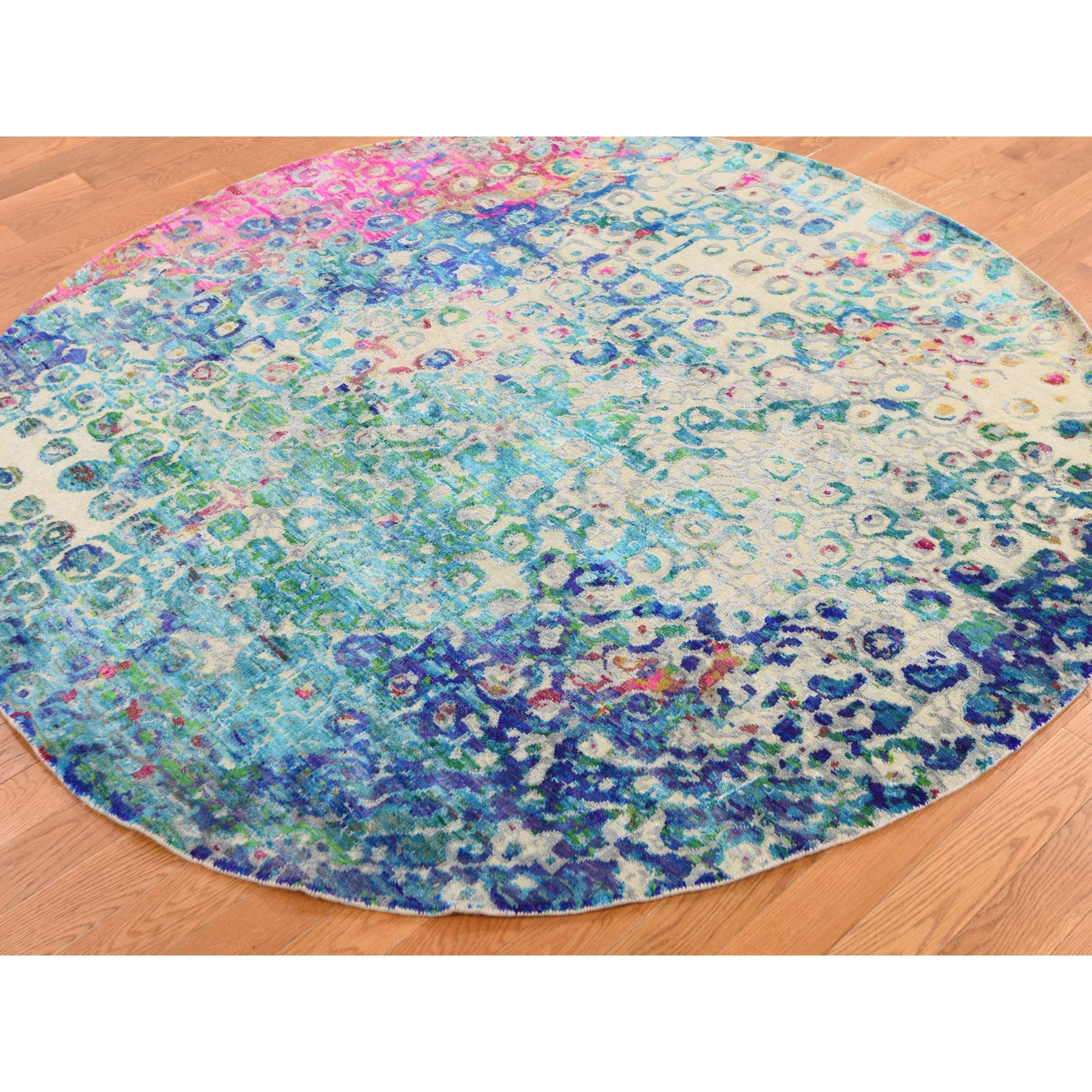 6'x6' THE PEACOCK, Sari Silk Round Colorful Hand Knotted Oriental Rug