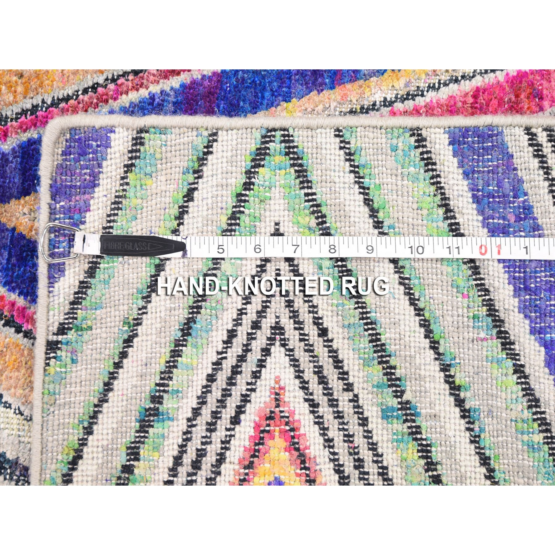 "4'x6'2"" Hand Knotted Chevron Design Sari Silk with Textured Wool Oriental Rug"