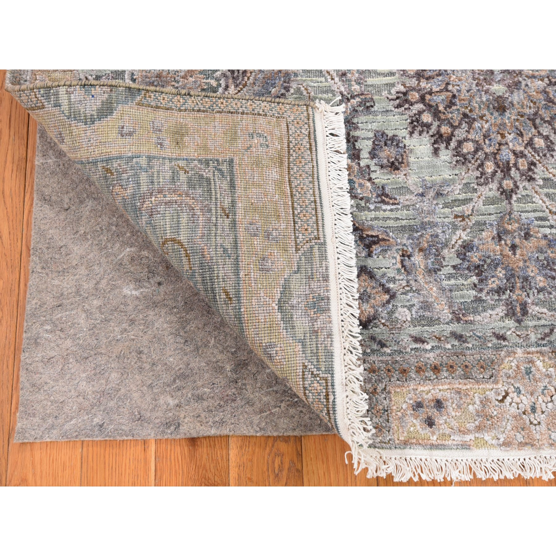 "4'1""x6'2"" Light Green Pure Silk With Textured Wool Mughal Design Hand Knotted Oriental Rug"