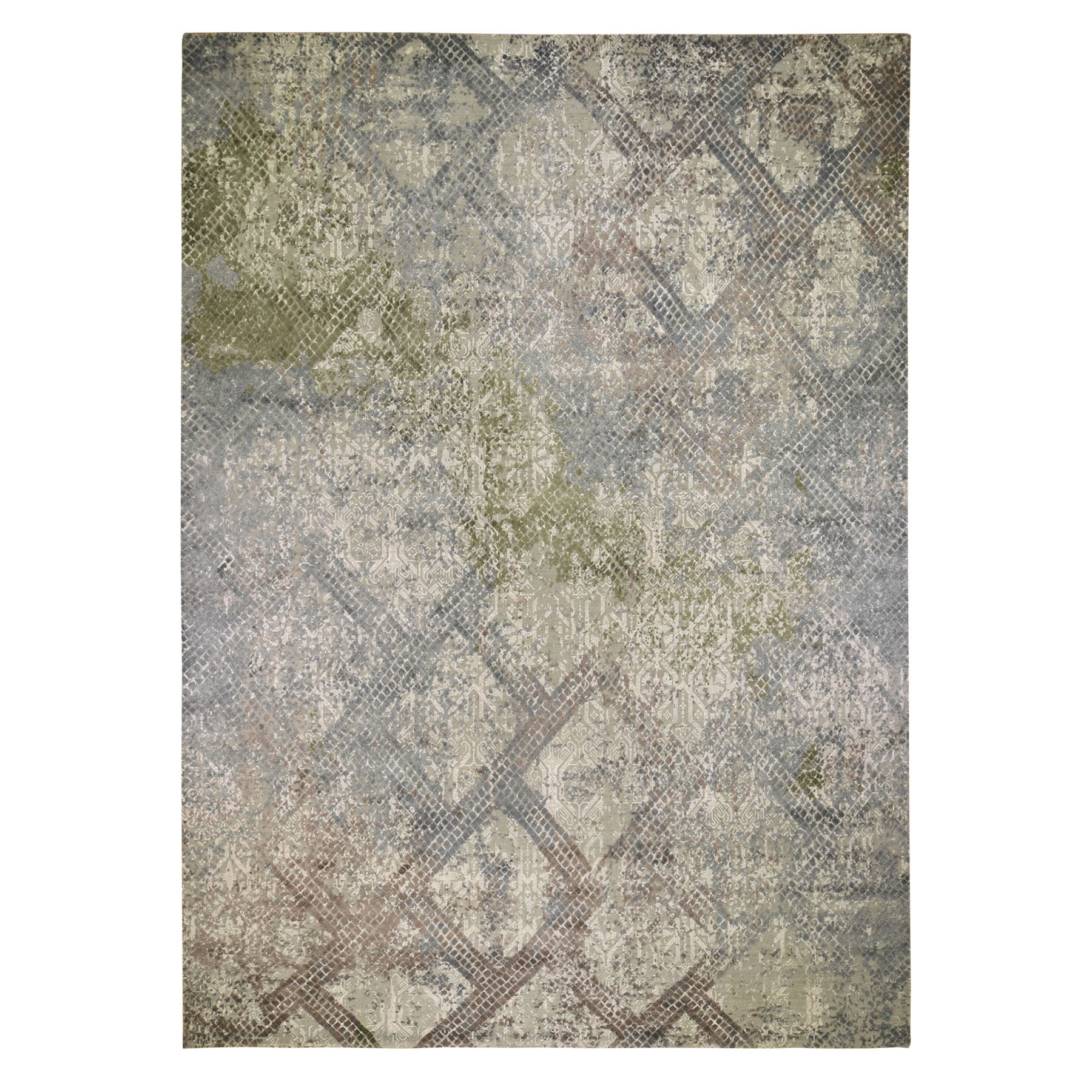 "12'3""X15'3"" Oversized Trellis Mosaic Design With Pure Silk Hand Knotted Oriental Rug moad8e8a"