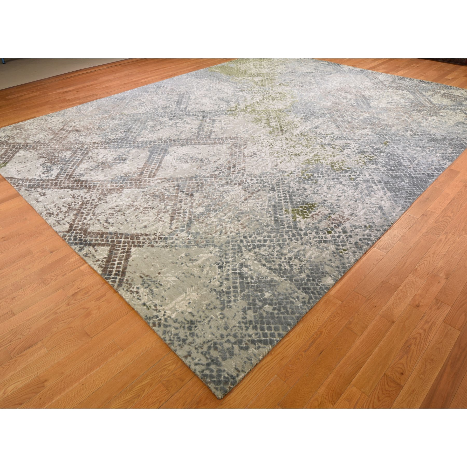 """12'3""""x15'3"""" Oversized TRELLIS MOSAIC DESIGN With Pure Silk Hand Knotted Oriental Rug"""