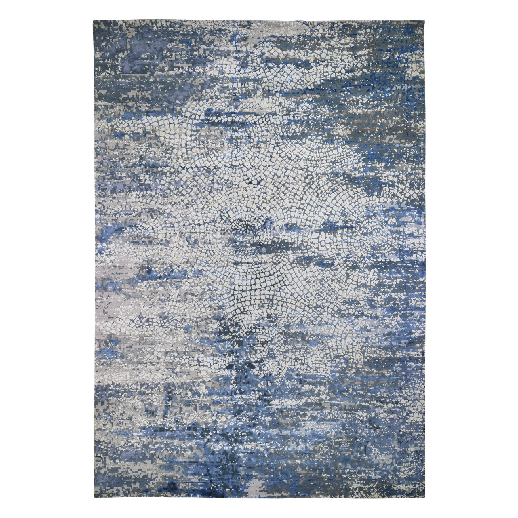 "10'2""X14' Blue Wool And Pure Silk Erased Roman Mosaic Design Hand Knotted Oriental Rug moad8e8b"