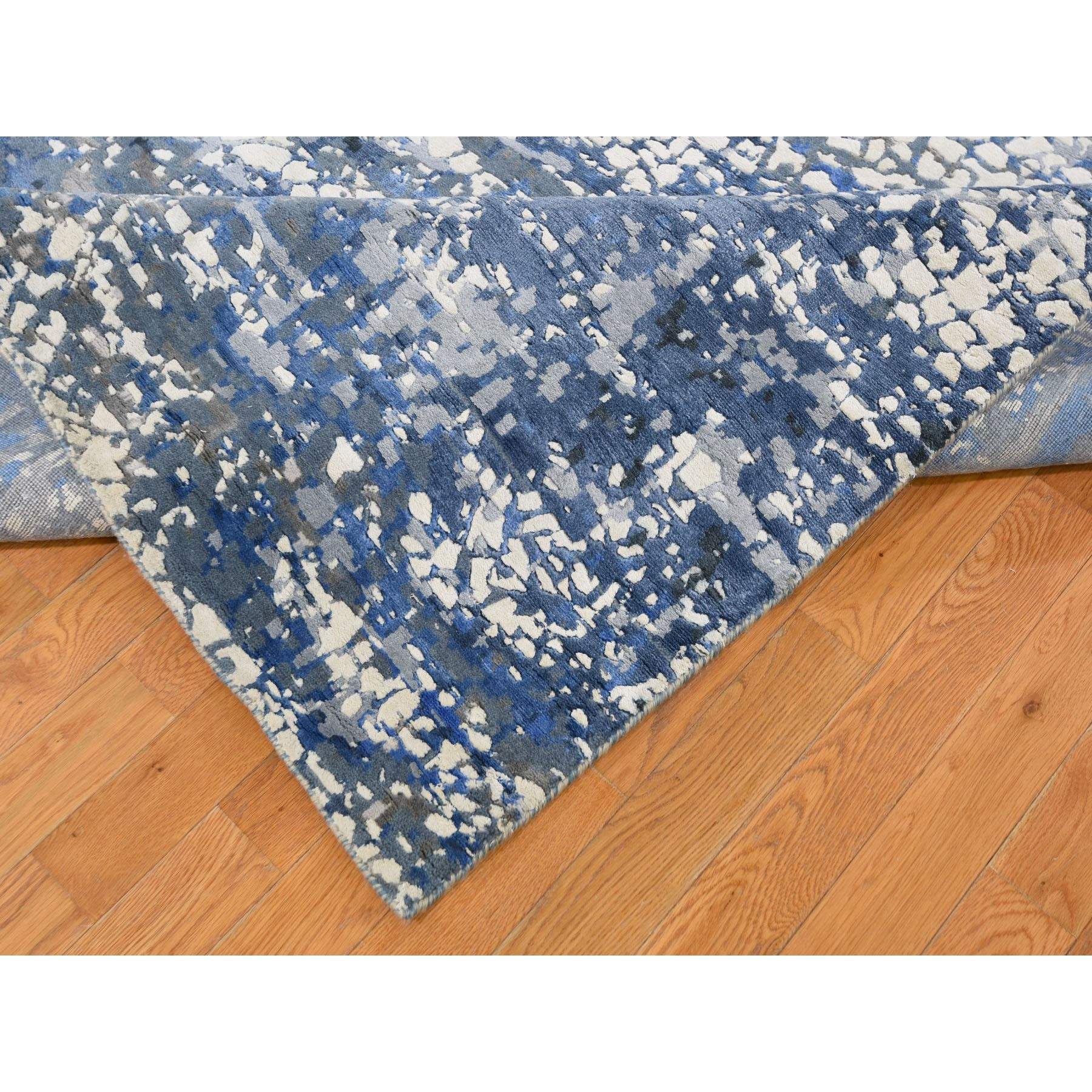 """10'2""""x14' Blue Wool And Pure Silk Erased Roman Mosaic Design hand Knotted Oriental Rug"""