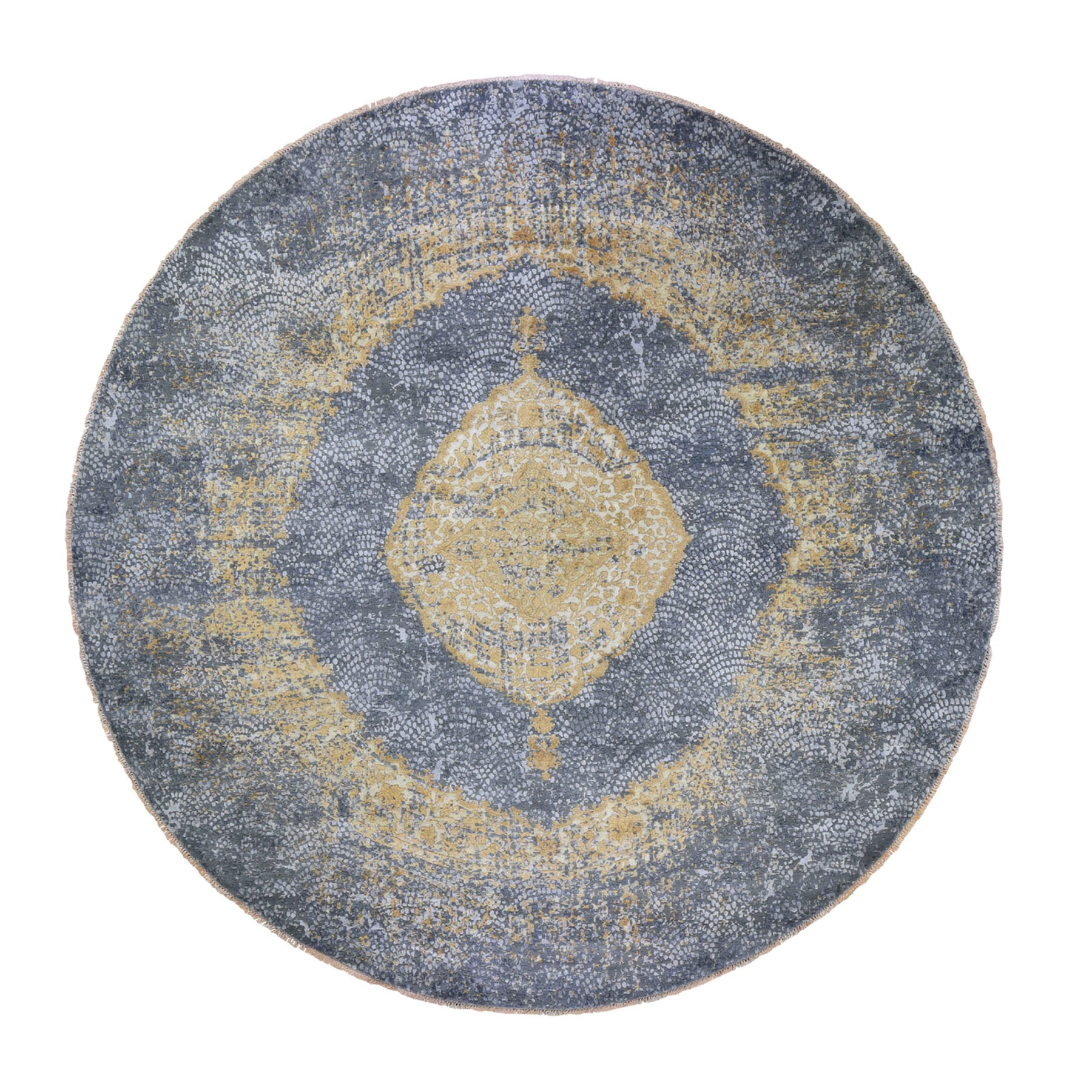 "11'10""X11'10"" Round Gold Persian Design Wool And Pure Silk Hand Knotted Oriental Rug moad8e8c"