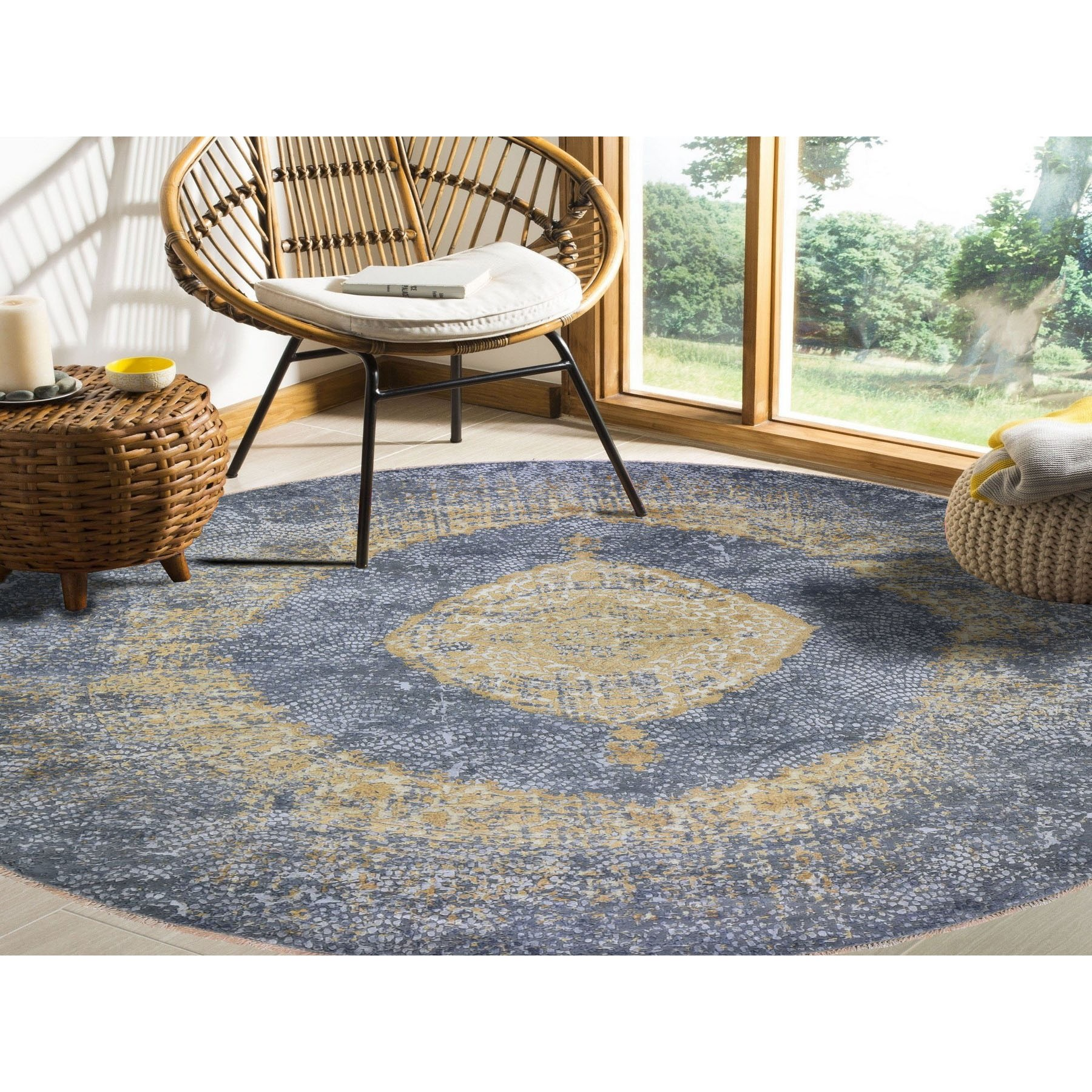 """11'10""""x11'10"""" Round Gold Persian Design Wool And Pure Silk Hand Knotted Oriental Rug"""