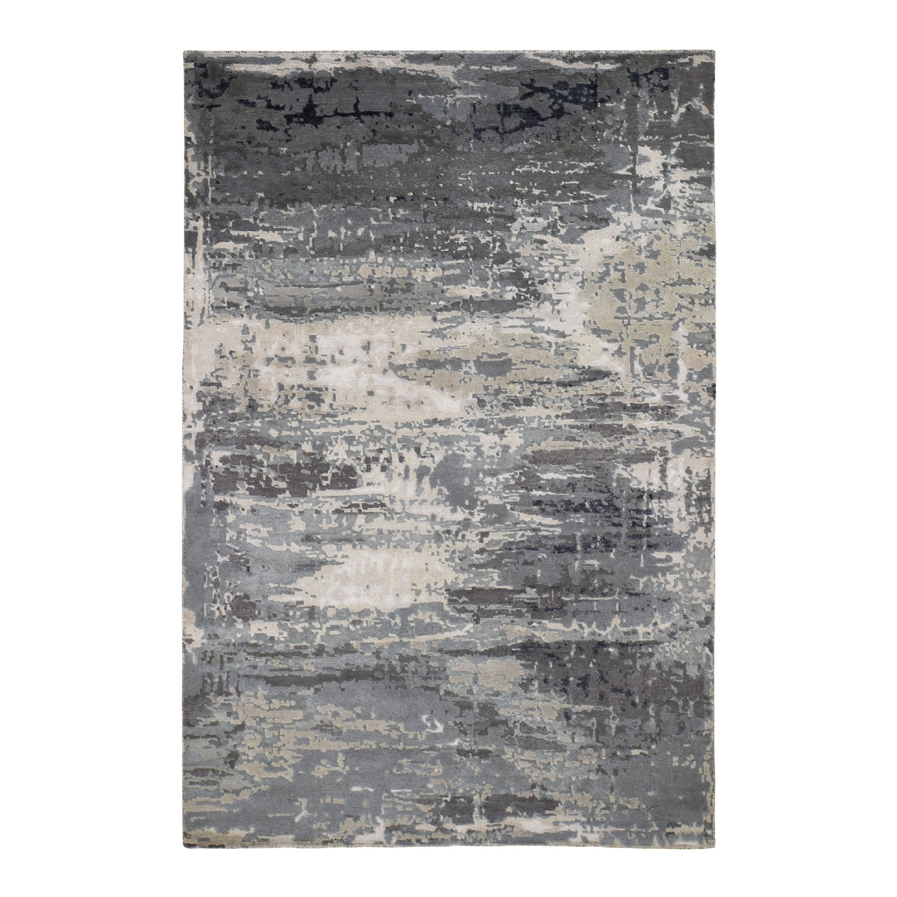 "6'1""x9'1"" Gray Abstract Design Wool & Silk Hi-Lo Pile Hand Knotted Oriental Rug"