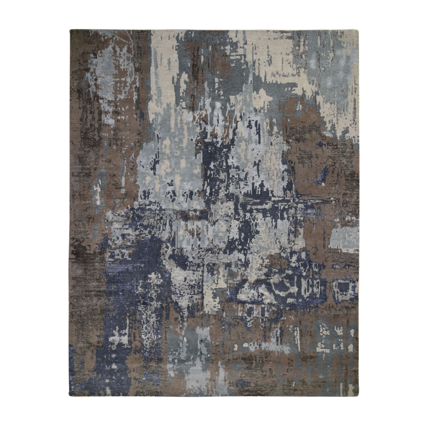 "8'X10'4"" Blue Abstract Design Wool And Silk Hand Knotted Oriental Rug moad8e8e"