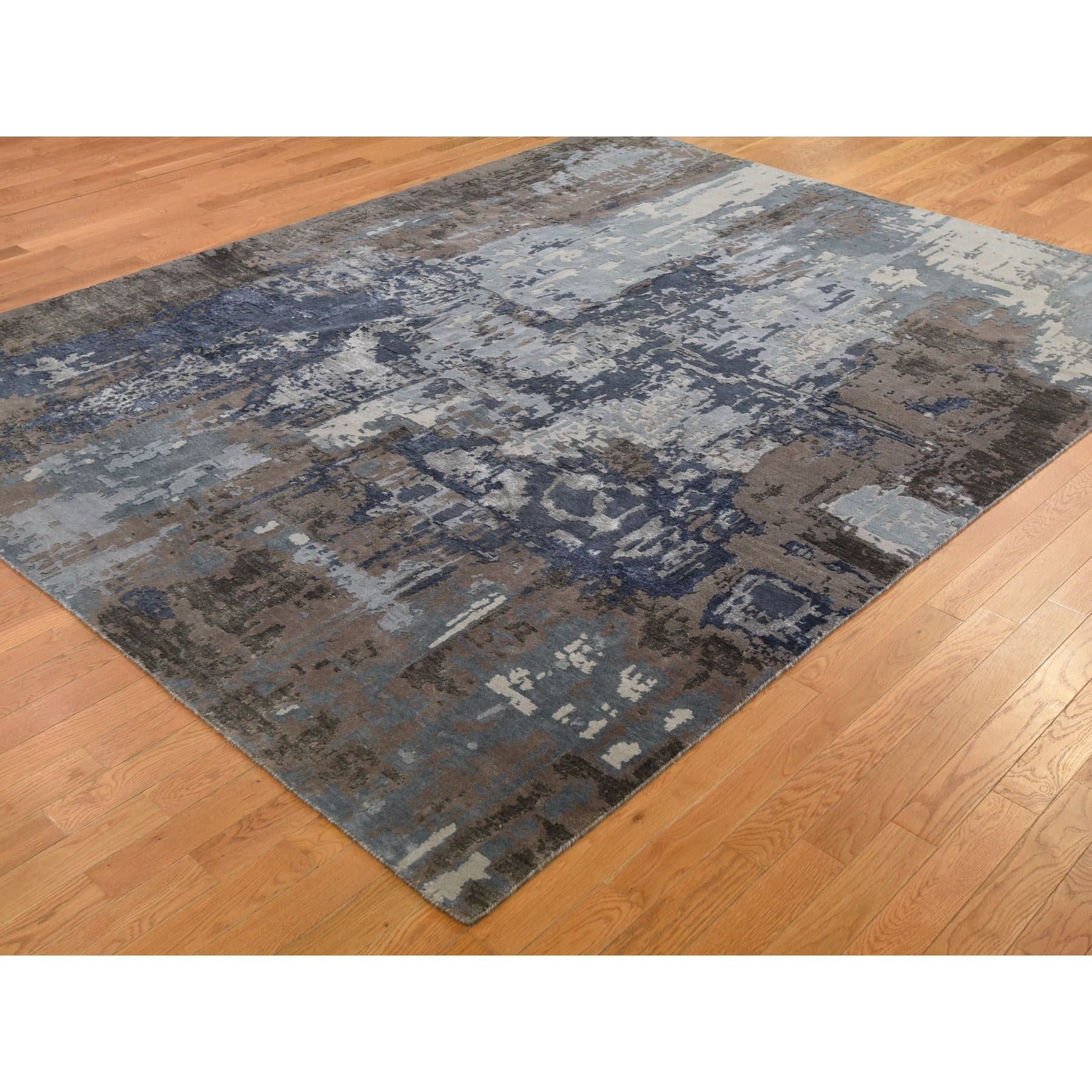 8-x10-4  Blue Abstract Design Wool and Silk Hand Knotted Oriental Rug