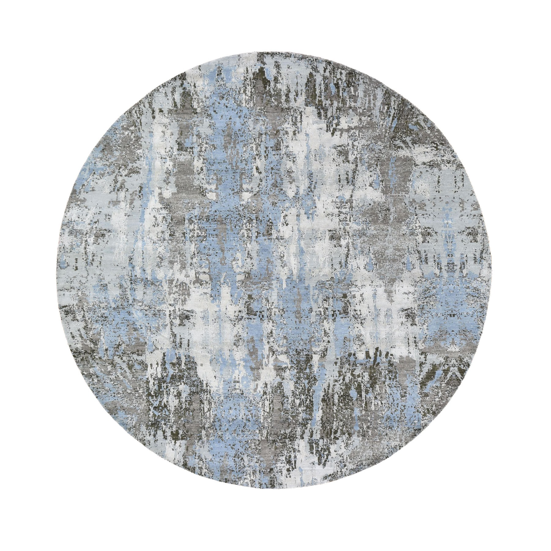 8'x8' Blue Abstract Design Wool and Pure Silk Hand Knotted Round Oriental Rug