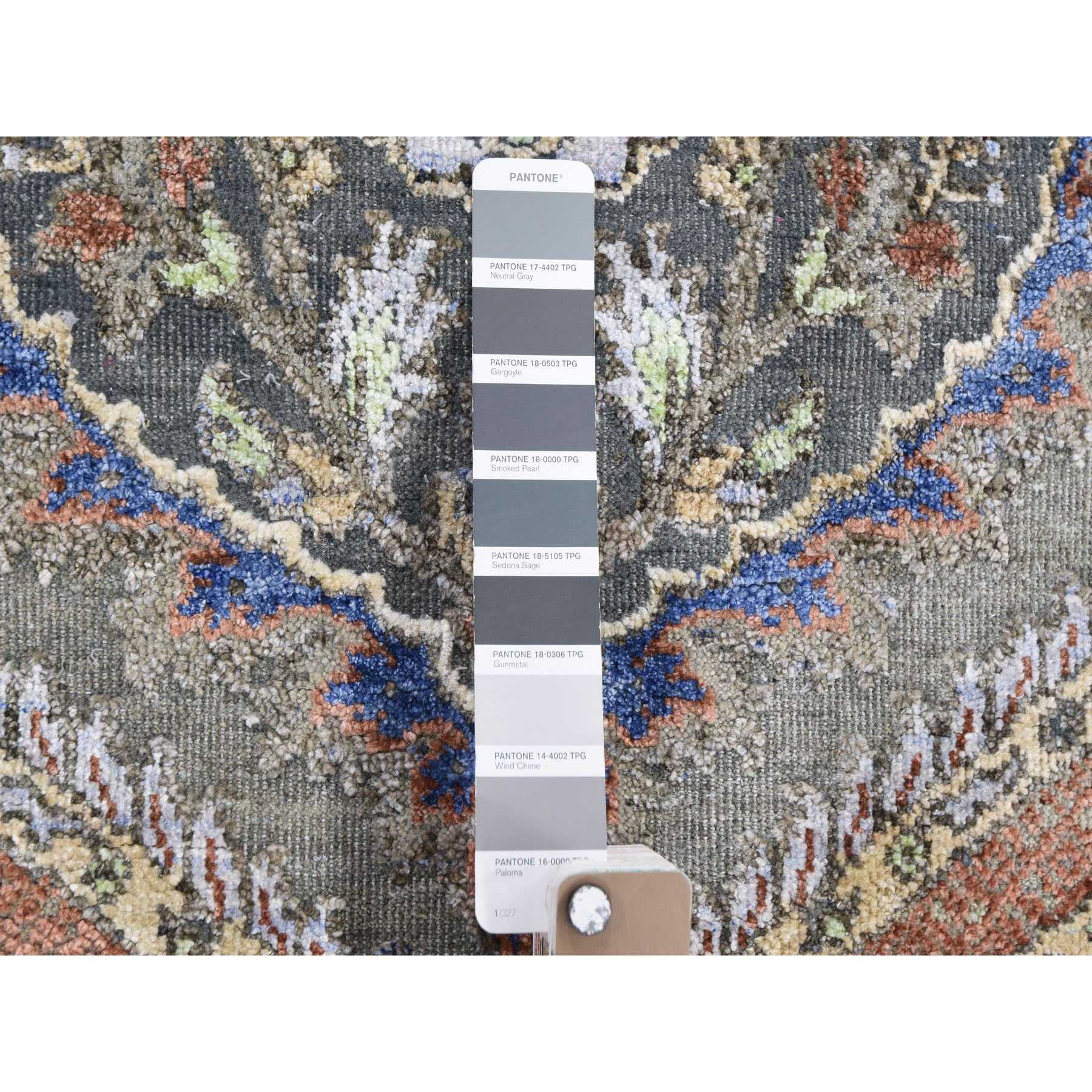 """2'6""""x10' Mughal Design Pure Silk With Textured Wool Runner Hand Knotted Oriental Rug"""
