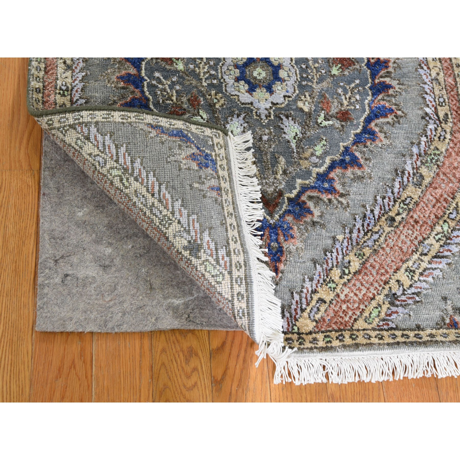 "2'6""x10' Mughal Design Pure Silk With Textured Wool Runner Hand Knotted Oriental Rug"