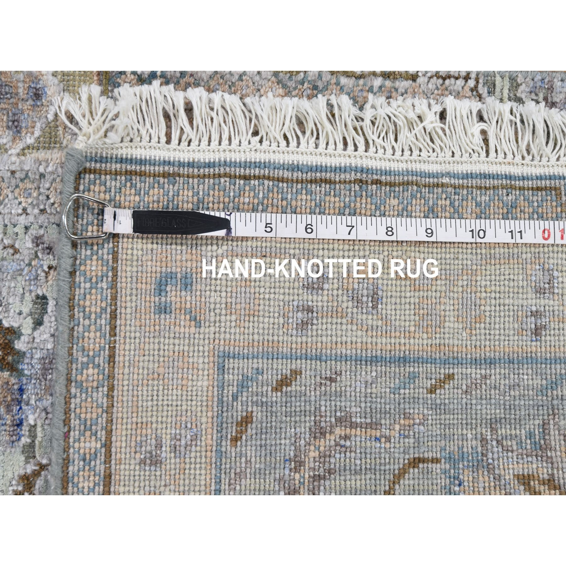 """2'6""""x6'1"""" Light Green Pure Silk With Textured Wool Mughal Design Runner Hand Knotted Oriental Rug"""