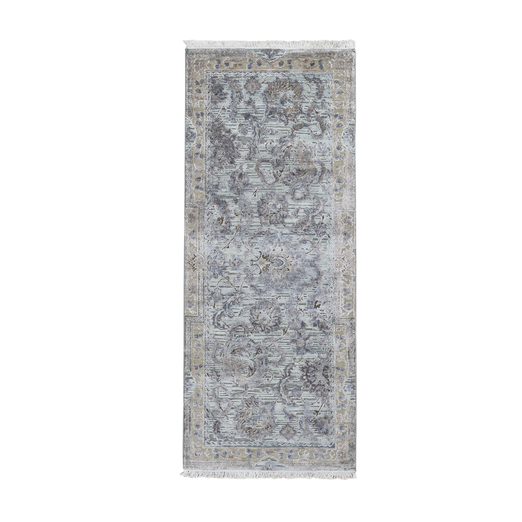 "2'6""X6'1"" Light Green Pure Silk With Textured Wool Mughal Design Runner Hand Knotted Oriental Rug moad8e9c"