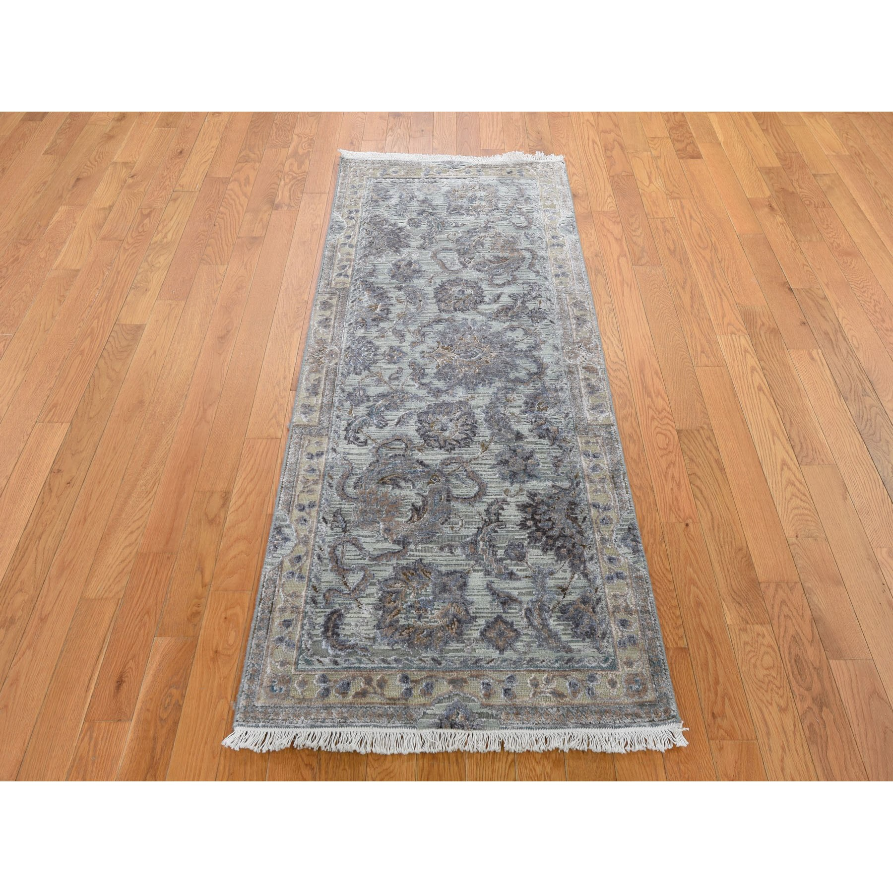 2-6 x6-1  Light Green Pure Silk With Textured Wool Mughal Design Runner Hand Knotted Oriental Rug