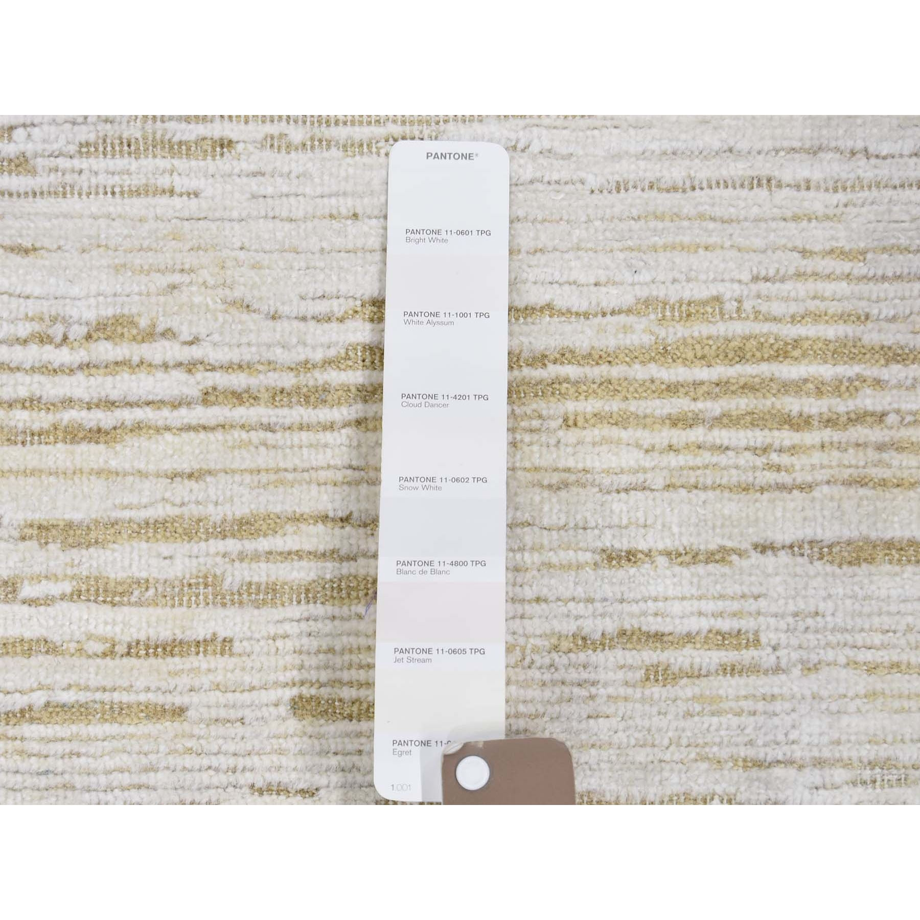 "2'6""x8'3"" Silk with Textured Wool Tone on Tone Gabbeh Design Hi-Lo Pile Oriental Runner Rug"
