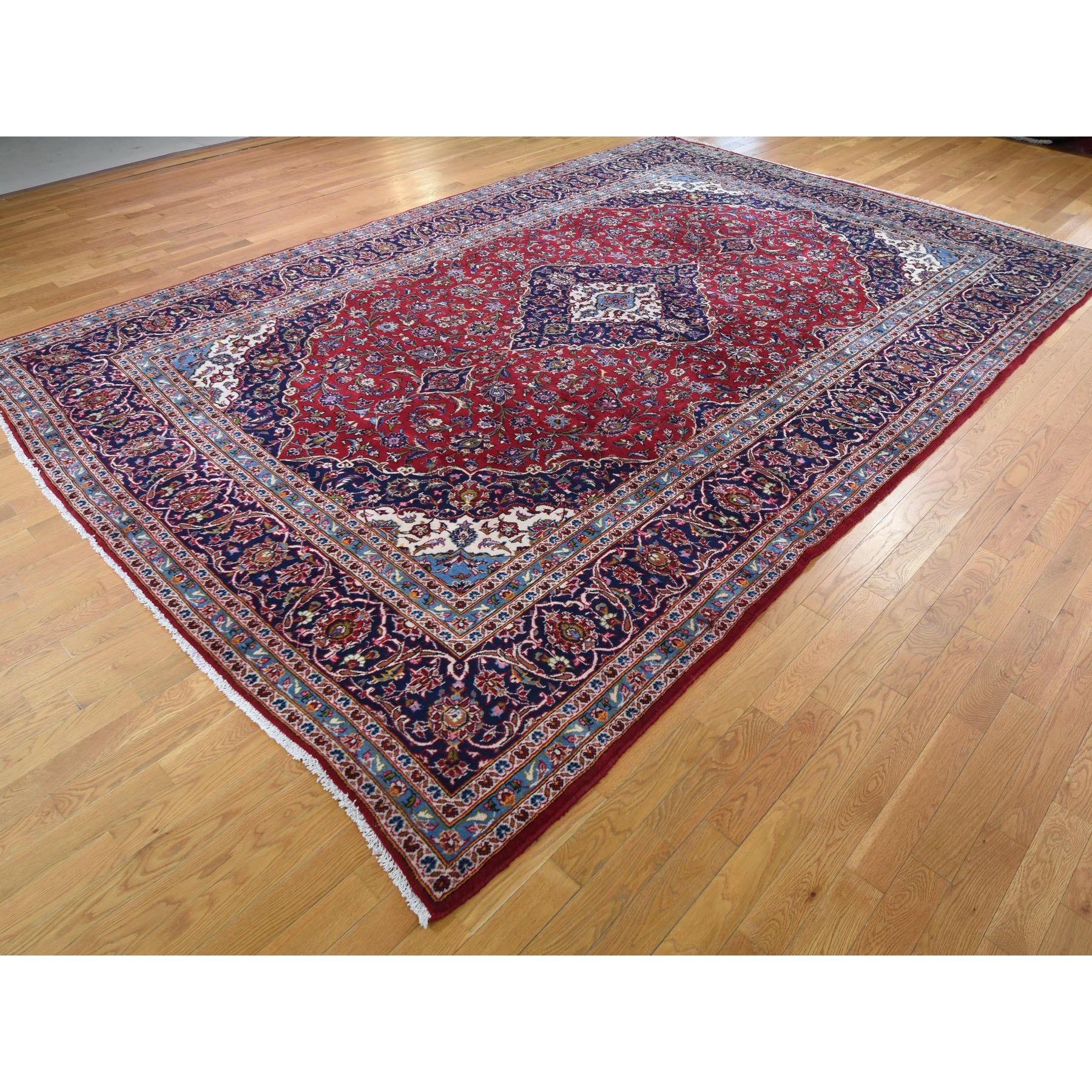 """9'8""""x14'4"""" Red Semi Antique Persian Kashan Full Pile Pure Wool Hand Knotted Oriental Rug"""