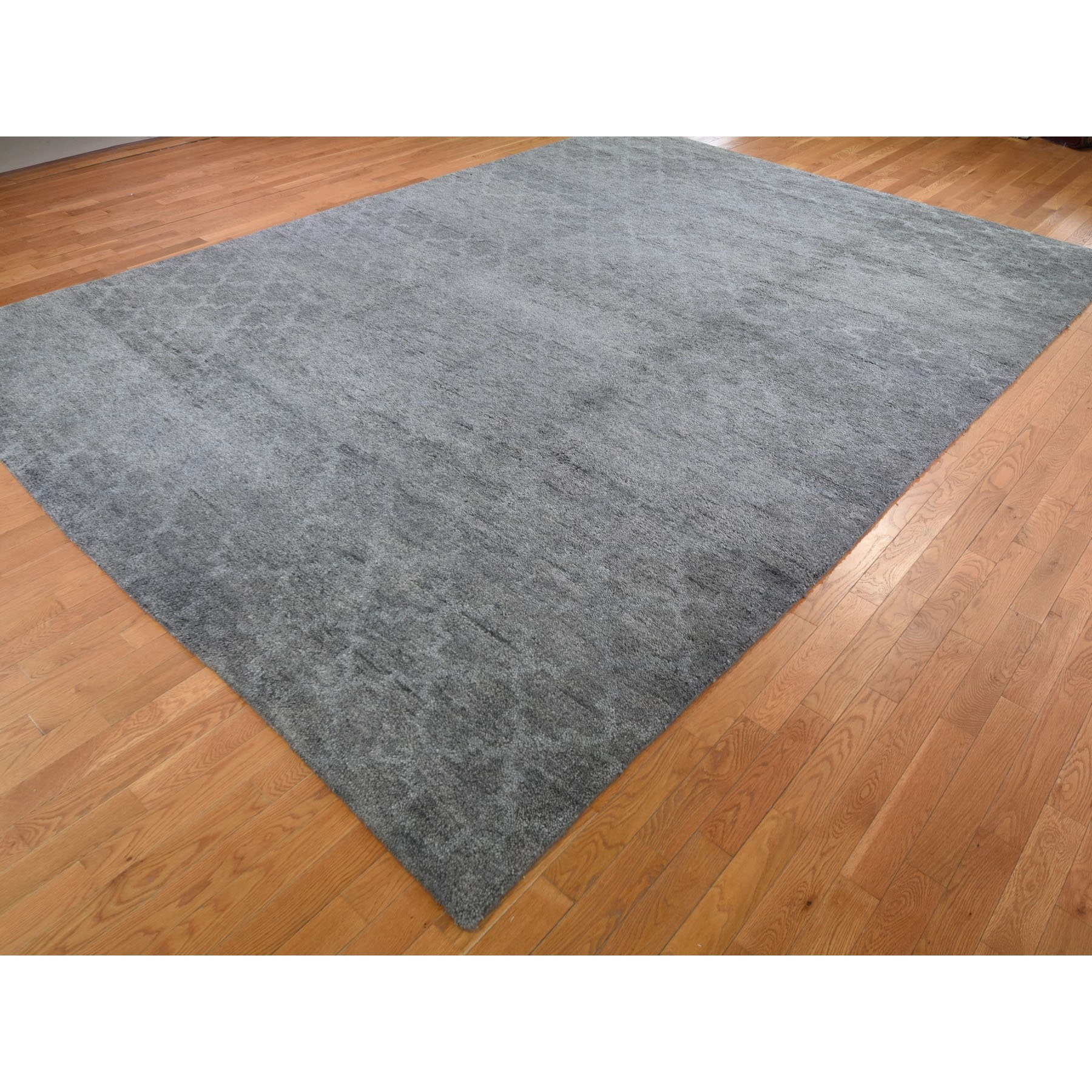 10'x14' Hand Knotted Pure Wool Grey Moroccan Berber Thick and Plush Oriental Rug