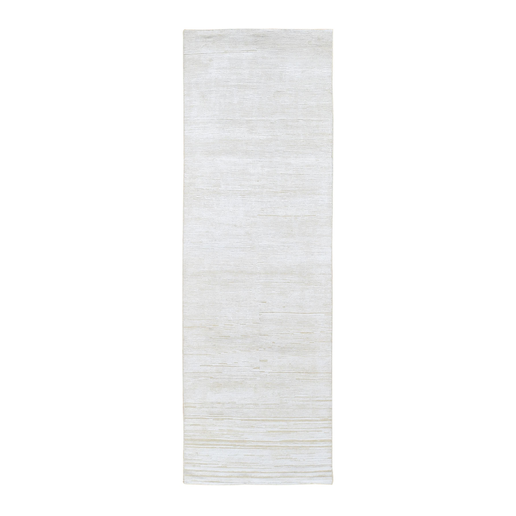 "2'5""x8'3"" Silk with Textured Wool Tone on Tone Gabbeh Design Hi-Lo Pile Oriental Runner Rug"