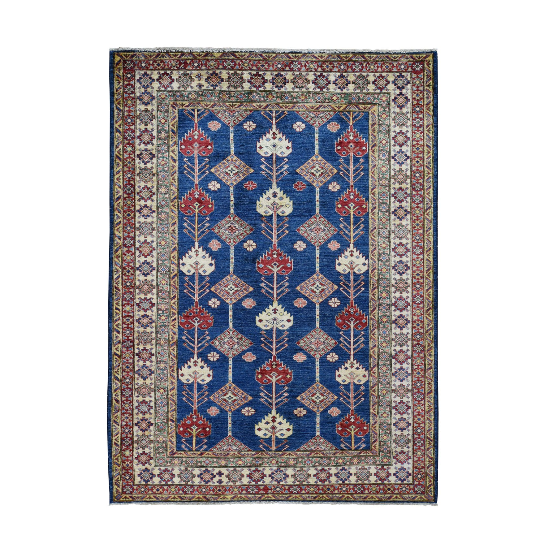 "5'6""X7'8"" Navy Blue Super Kazak Tribal Design Hand Knotted Pure Wool Oriental Rug moad860d"