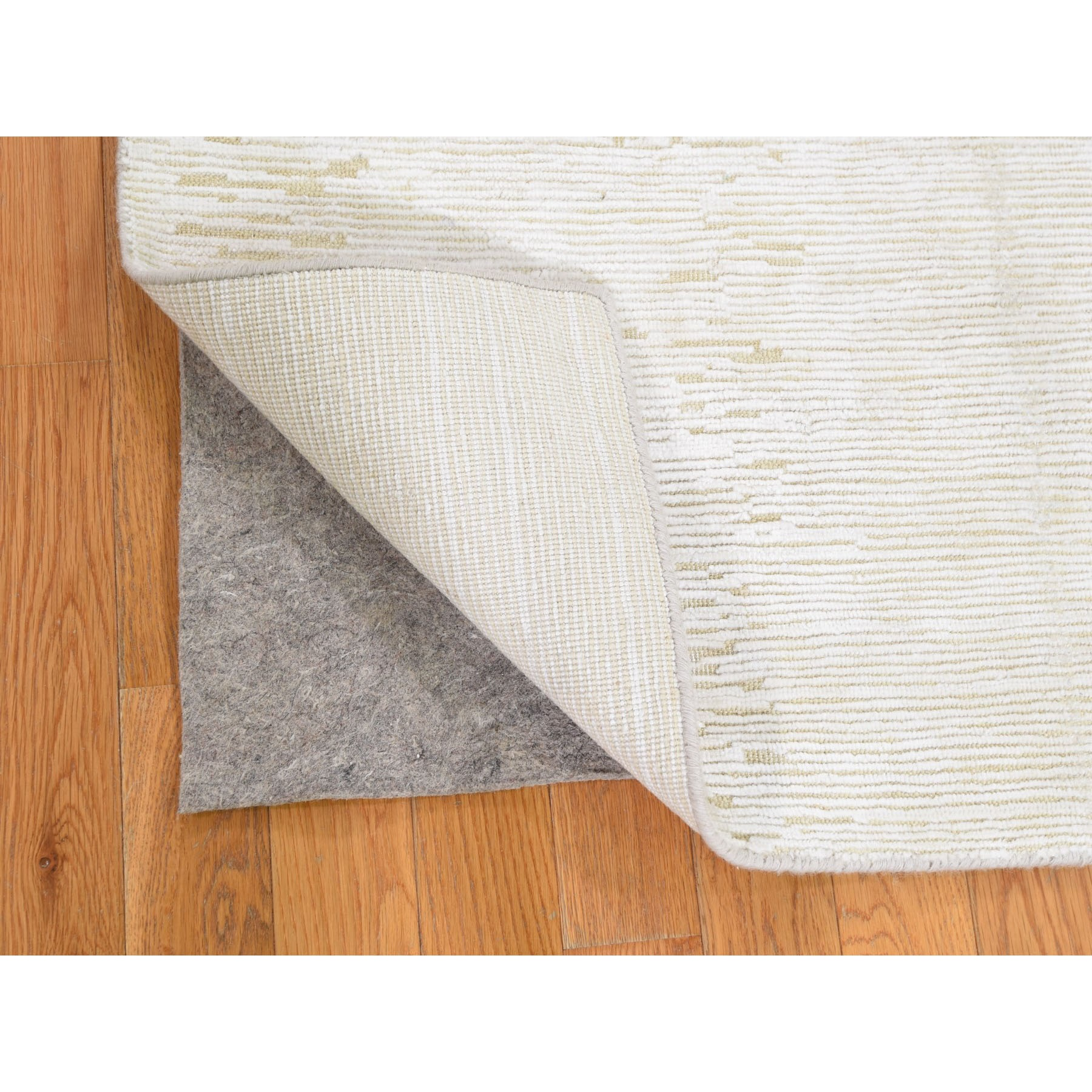"2'6""x6'5"" Silk with Textured Wool Tone on Tone Gabbeh Design Hi-Lo Pile Oriental Runner Rug"