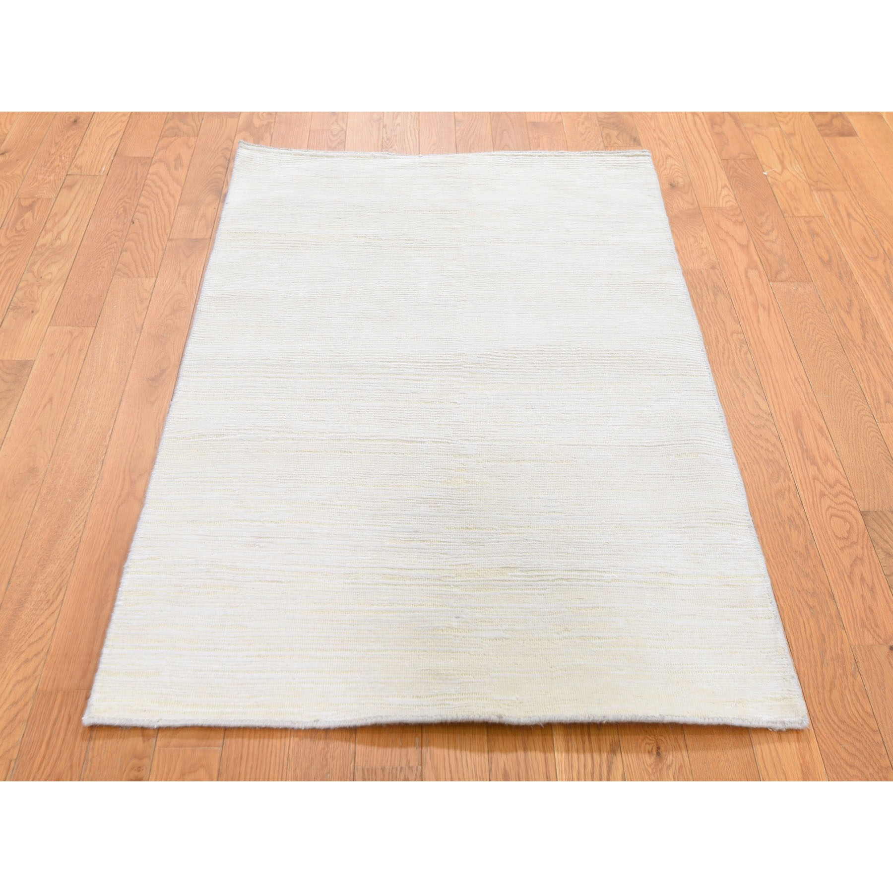 3'x5' Silk with Textured Wool Tone on Tone Gabbeh Design Oriental Rug