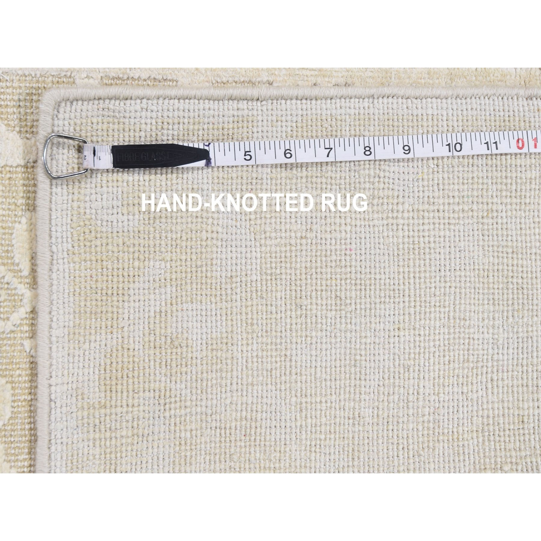 """2'6""""x8'3"""" Hand knotted Tone on Tone Pure Silk with Textured Wool Runner Oriental Rug"""
